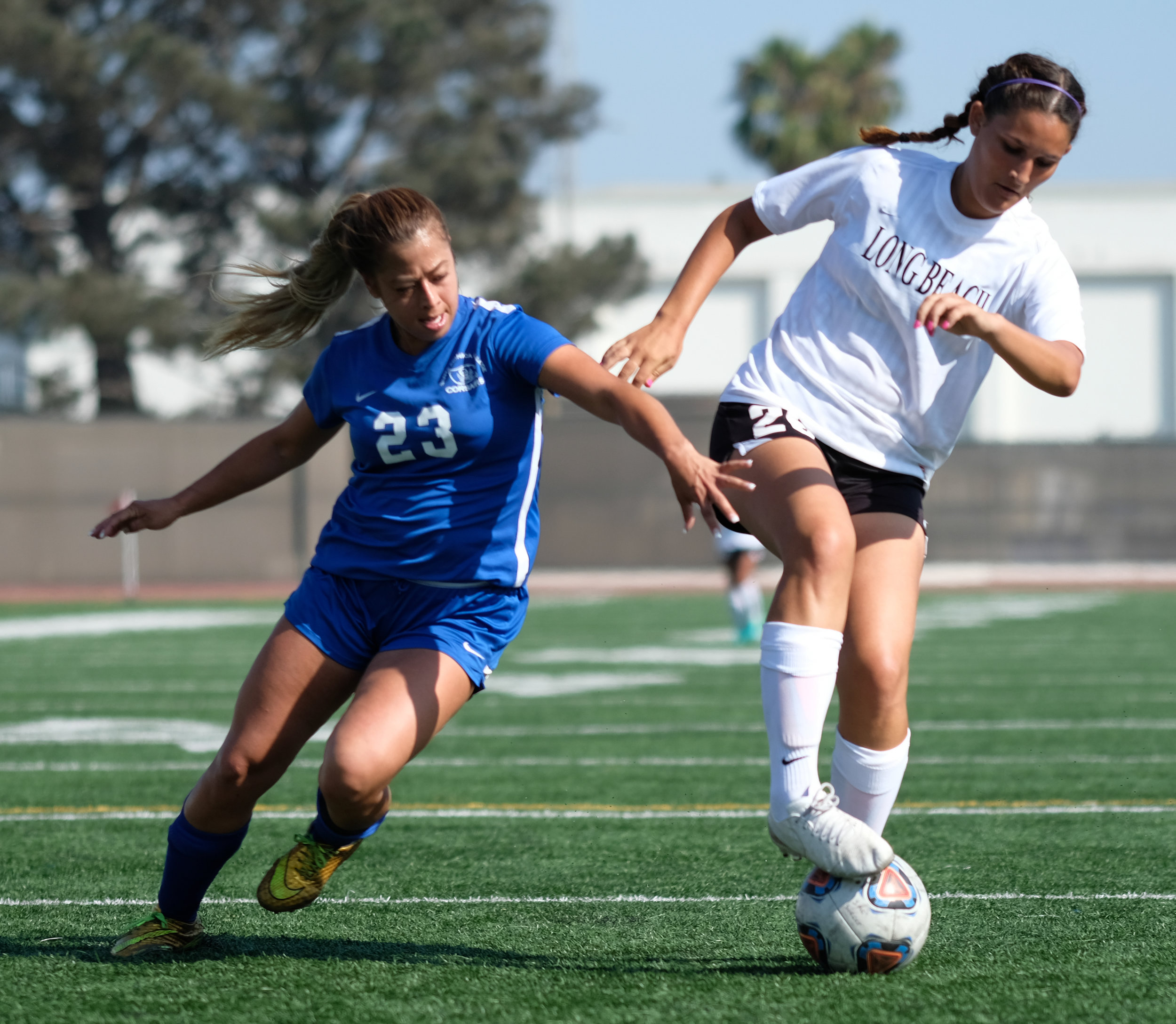 On Tuesday August 29th 2017, Daysi Serrano (#23) is attempting to make a steal against Long Beach City College in Santa Monica, CALIF.