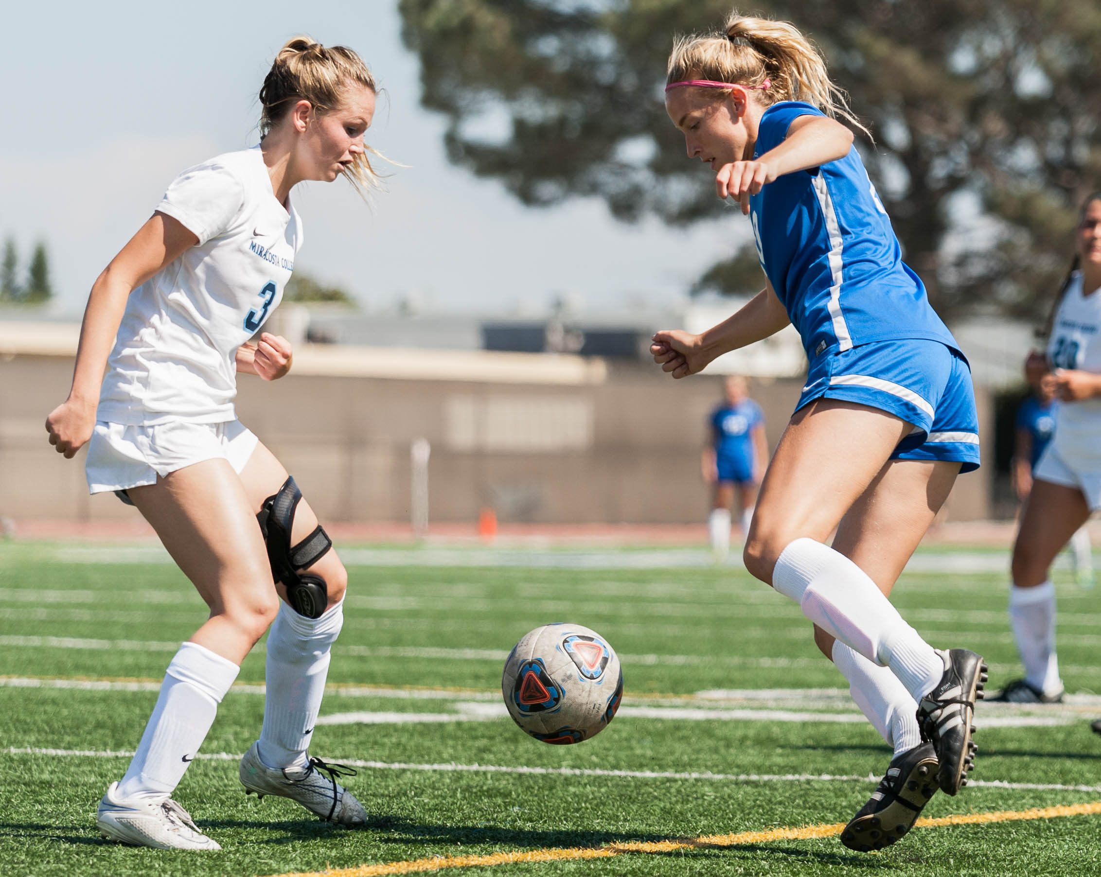 Nicole Andersson of the Santa Monica College Women's Soccer Teams attempts to get by Shayla Cottrell (3) of MiraCosta College. The Corsairs Women's Team won the game 1-0 against the MiraCosta Spartans. The match was held at the Corsair Field at Santa Monica College in Santa Monica, Calif.. September 6, 2017. (Photo by: Justin Han/Corsair Staff)