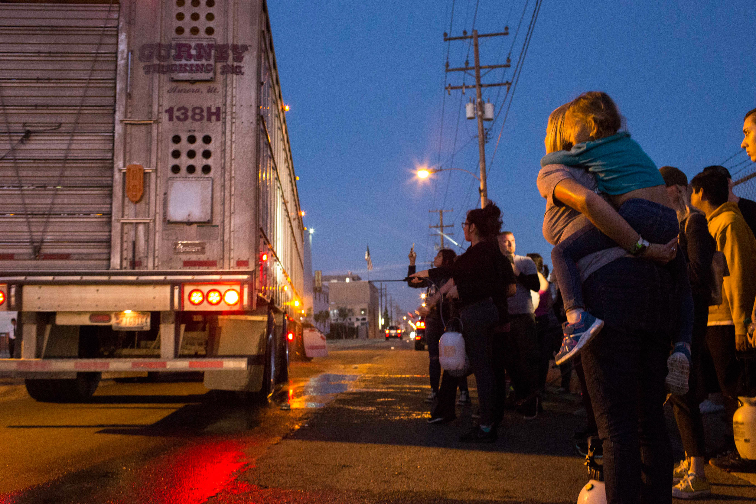 Heidi Menze, holding her daughter, Alexis (5) on her back,  watches as a truck pulls in through the gate of Farmer John, a slaughterhouse in Vernon, CA, carrying pigs destined for slaughter on April 30 2017 photo by Ruth Iorio
