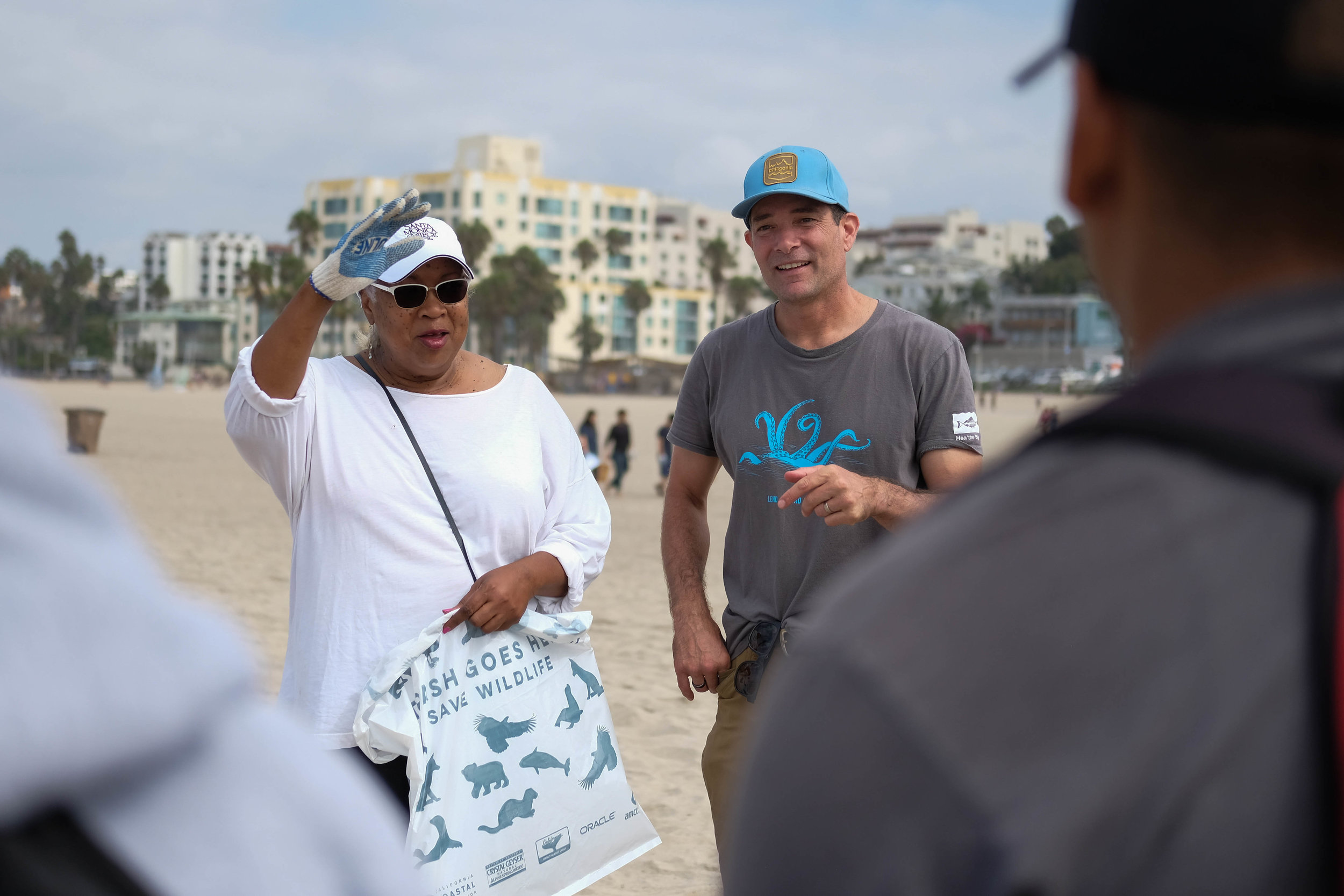Santa Monica College President, Kathryn Jeffery and Santa Monica College Sustainability Manager Ferris Kawar talking to kids participating in Heal the Bay in  Santa Monica, CALIF on September 16th, 2017.