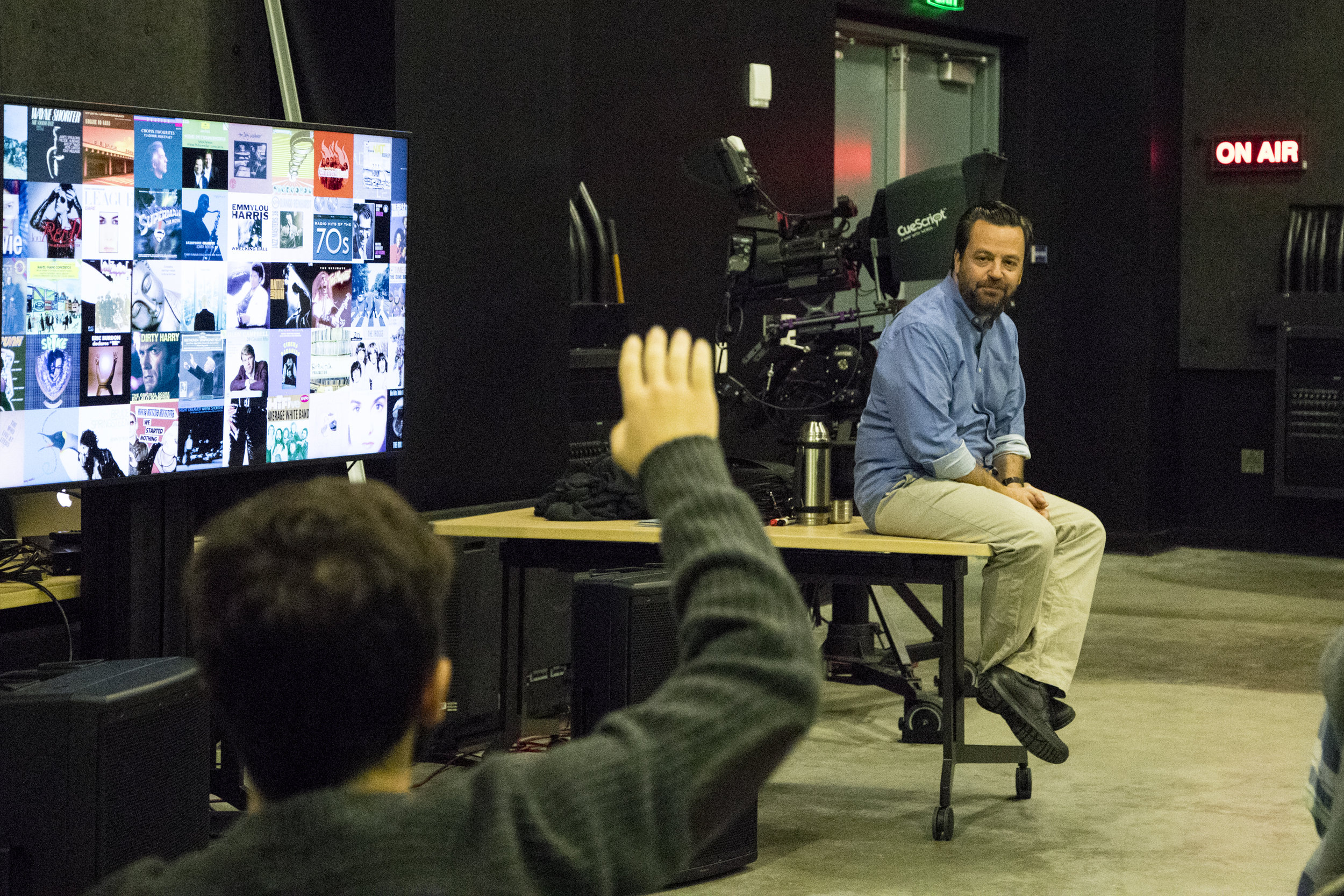 On September 14, 2017 Professor of Film and Production, Salvador Carrasco teaches a class at the new Santa Monica Colleges Center for Media and Design building in Santa Monica, Calif. (Jazz Shademan)