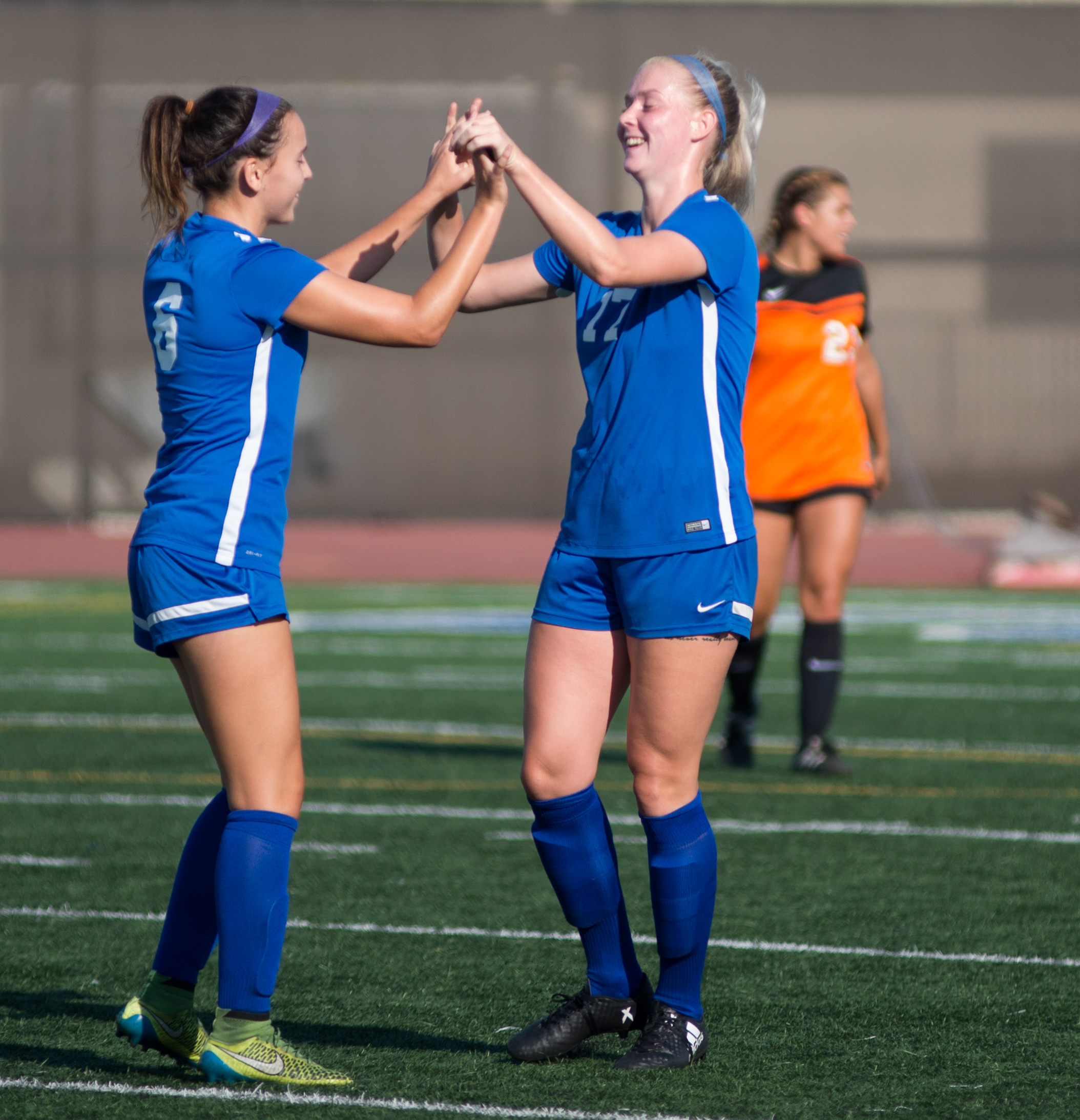 Santa Monica College Corsair Filippa Struxsjo (17) (R) celebrates after scoring the first goal of the game against Ventura College with her teammate Antoinette Saldana (6) (L) on Tuesday September 26, 2017 on the Corsair Field at Santa Monica College in Santa Monica, California. The Corsairs win the game 2-1. (Josue Martinez)