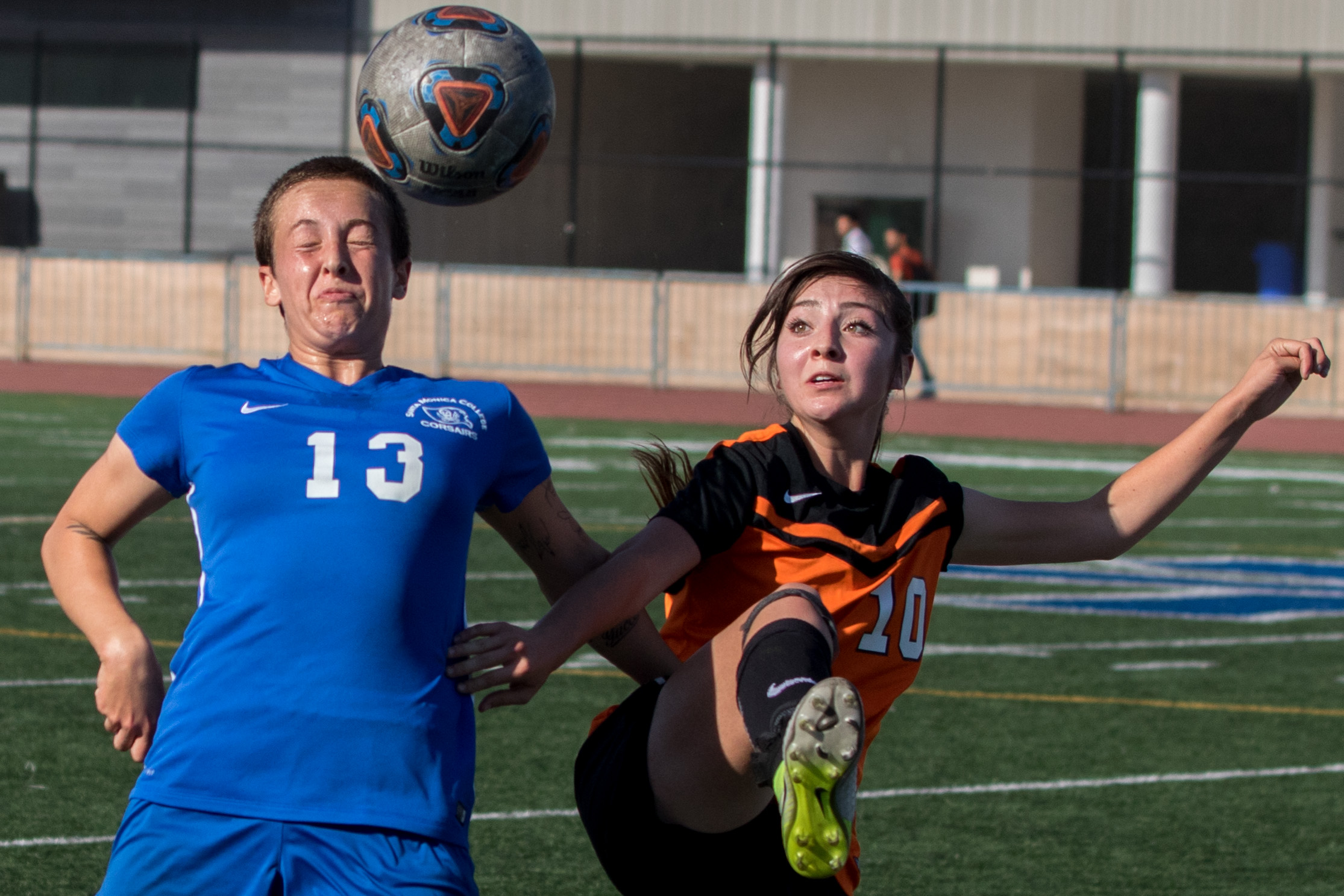 Santa Monica College Corsairs sophomore defender Chloe Glueck (13, left) and Ventura College Pirates sophomore forward Valeria Ramirez (10, right) battle for control of the airborne ball. The Corsairs were able to come out with a 2-1 victory at the Corsair Field located on Santa Monica Colleges Main Campus in Santa Monica California on September 26, 2017. (Photo By: Zane Meyer-Thornton)
