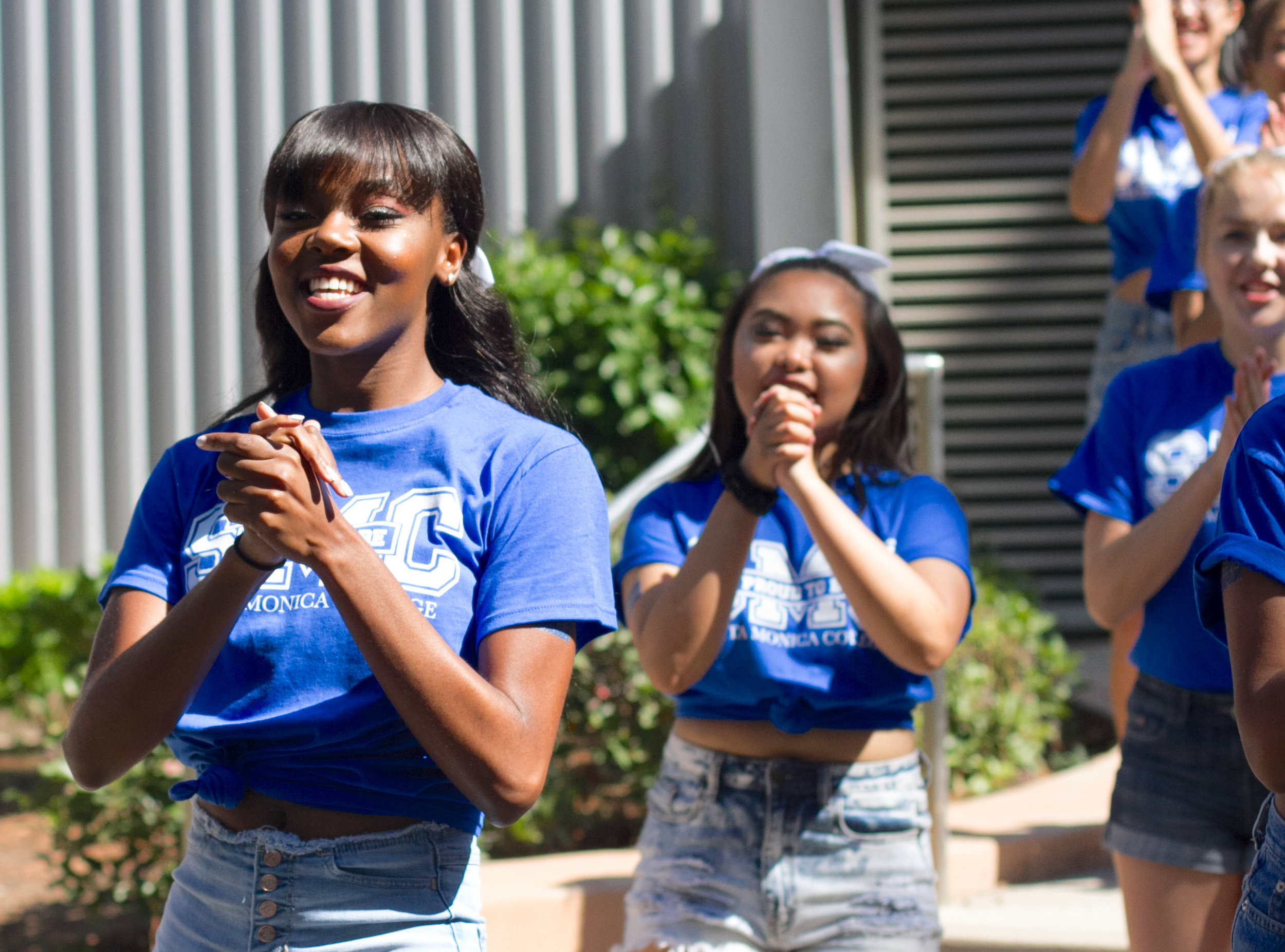 Cheerleader Winnie Marcelin performing with the SMC Cheer Club at the Club Awareness Day at Santa Monica College in Santa Monica, Calif., September 28, 2017. (Photo By: Rips Avetisyan/Corsair Staff)