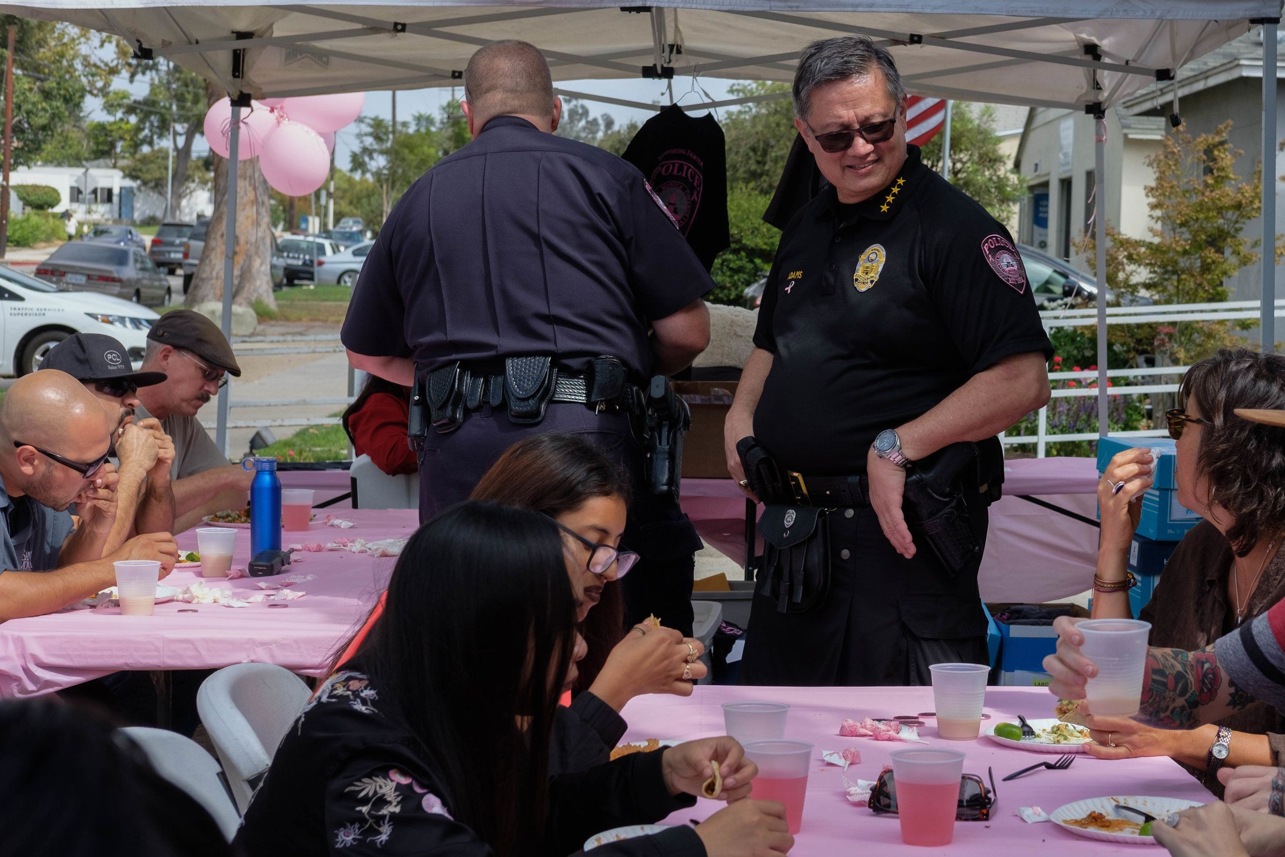 Chief of Police, Johnnie Adams chats with event attendees in Santa Monica, Calif. on October 3rd, 2017. Photo by: Jayrol San Jose