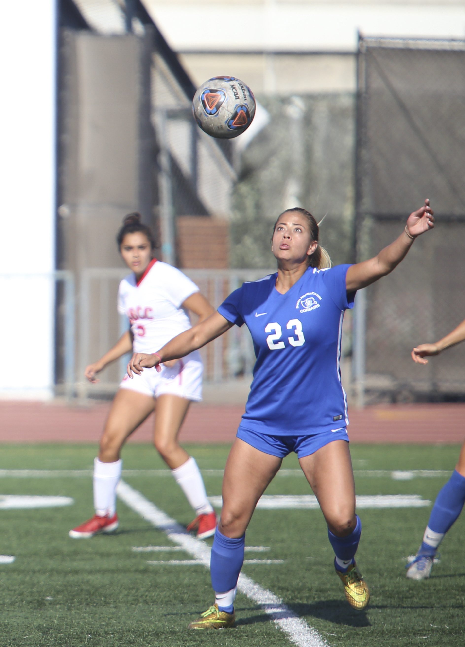 Daysi Serrano (23) prepares to headbutt the ball during the soccer game between the Santa Monica College Corsairs and Santa Barbara City College Vaqueros at the Corsair Stadium at Santa Monica College's Main Campus in Santa Monica, Calif on Tuesday, October 3rd 2017. The final score was 2-0 Vaqueros. (Photo by: Thane Fernandes)
