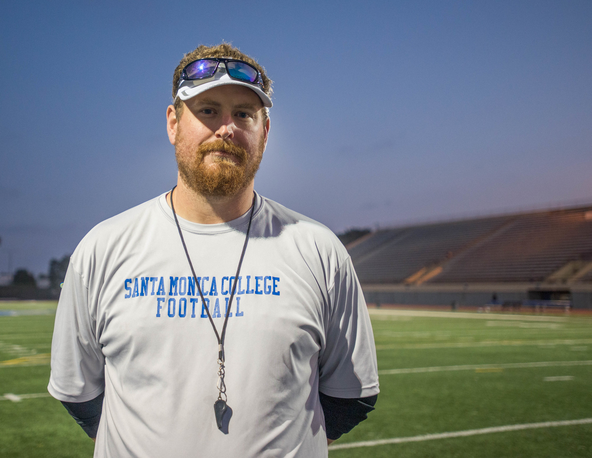 Santa Monica College Football Coach Kelly Ledwith poses for a portrait at the Corsair Field. (Josue Martinez)
