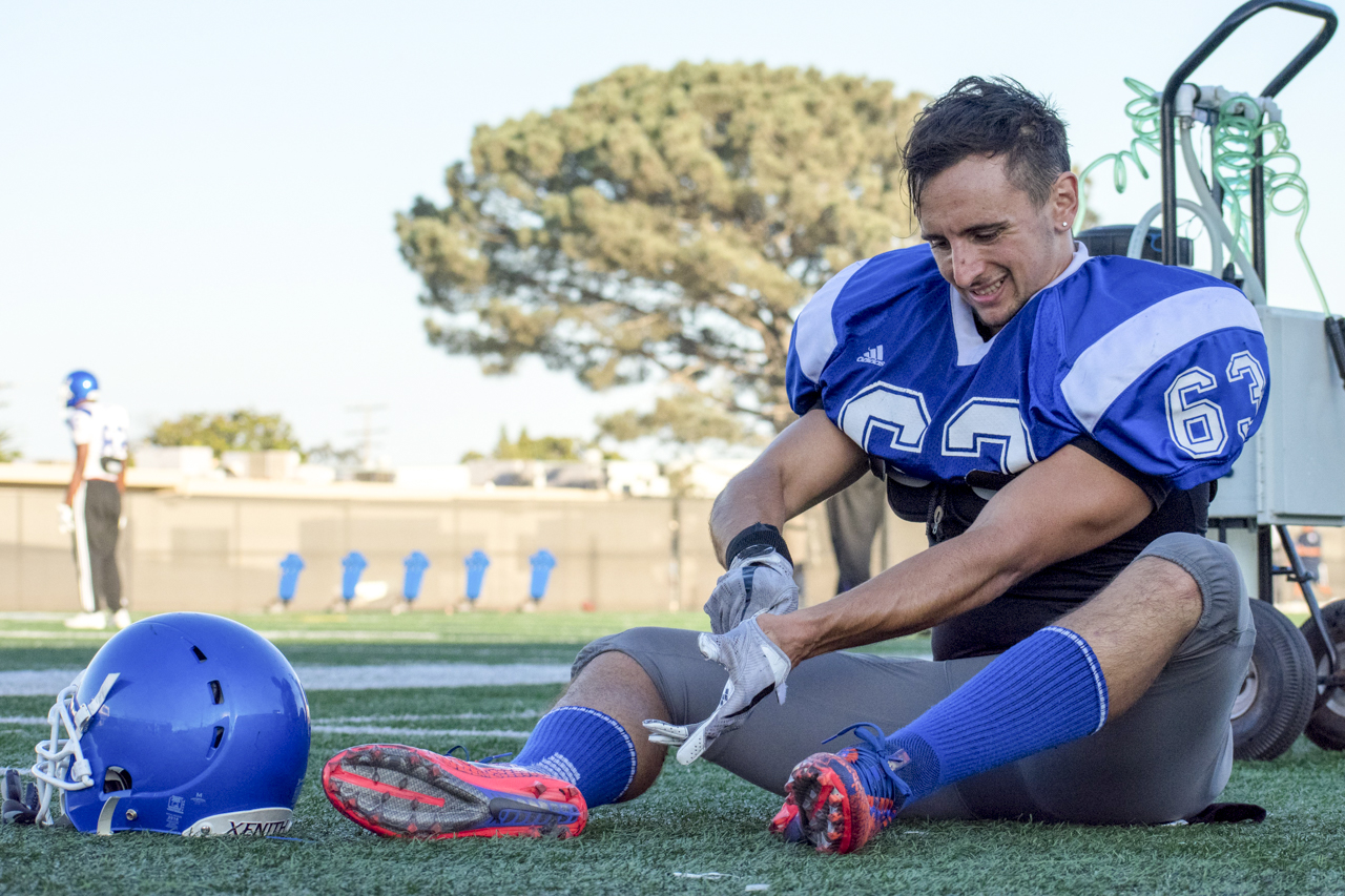 Dario Gentiletti, a safety for the Santa Monica College Corsairs gets ready for practice on the Corsair field in Santa Monica, Calif. on Thursday, Sept. 28, 2017. Gentiletti, number 41 on game day wears the number 63 during this practice. (Photo: Ethan Lauren)