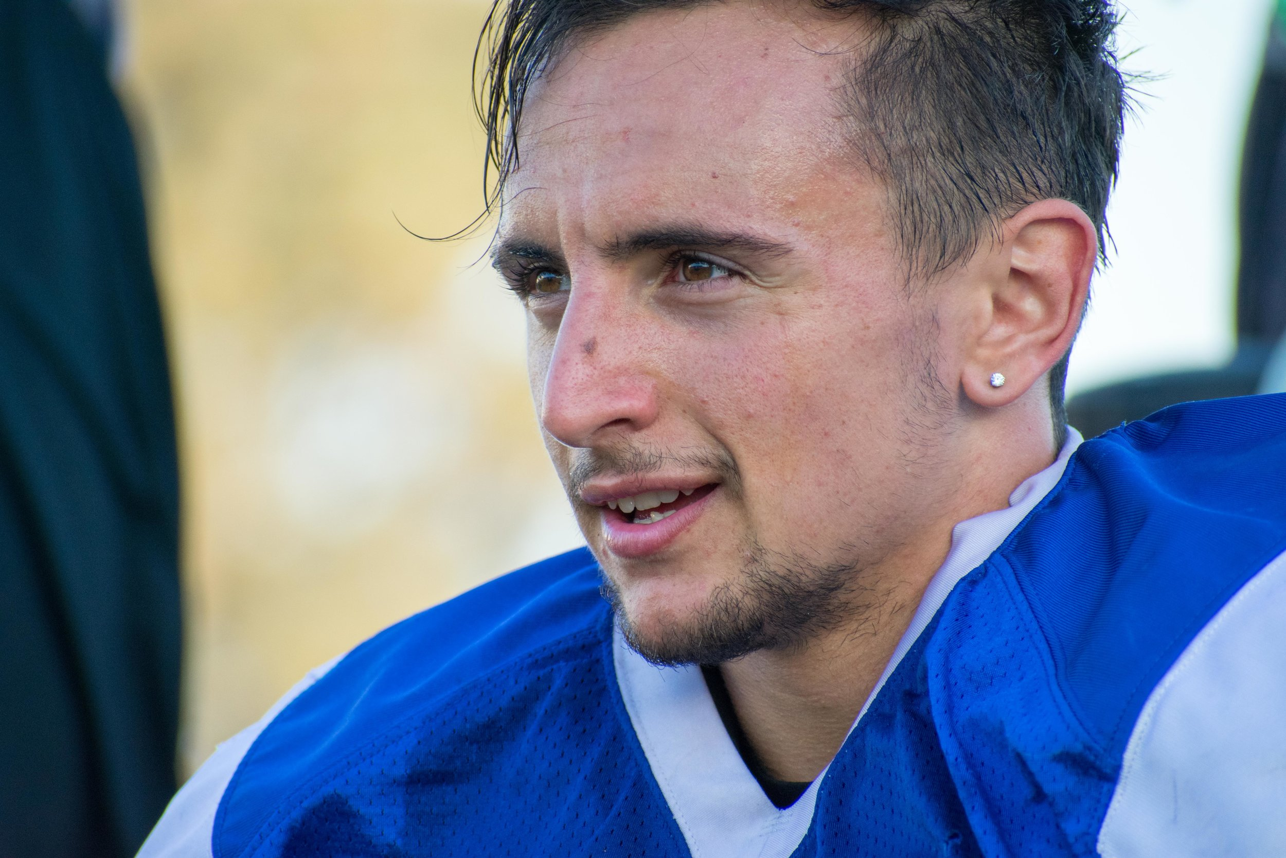 Dario Gentiletti, a safety for the Santa Monica College Corsairs practices on the Corsair field in Santa Monica, Calif. on Thursday, Sept. 28, 2017. Gentiletti, number 41 on game day wears the number 63 during this practice. (Photo: Ethan Lauren)