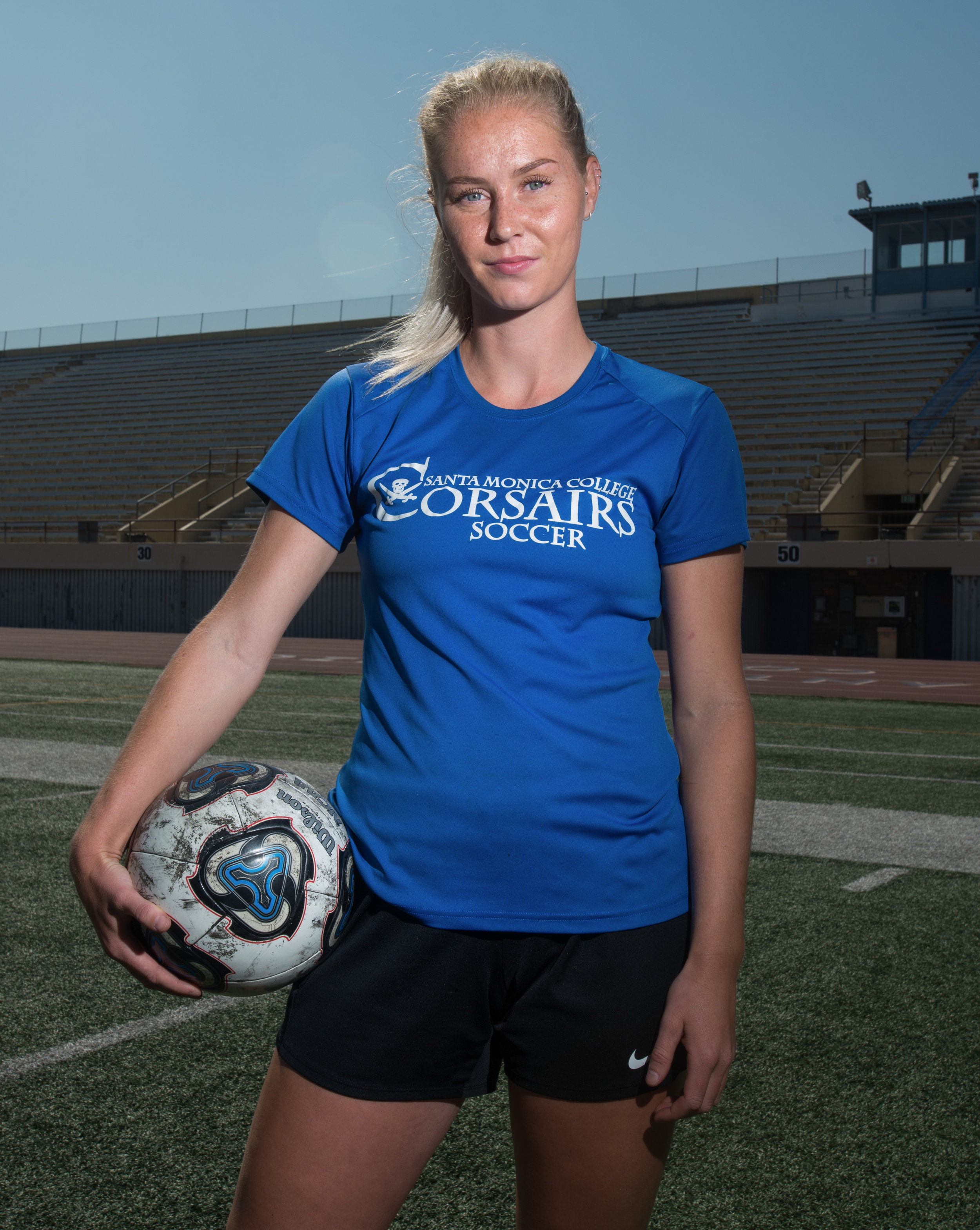 Santa Monica College Corsair Forwards Filippa Struxsjo poses for a portrait at the Corsair Field in Santa Monica, California on October 13, 2017.  Filippa is an international student from Sweden and is currently among the top scorers in the team with 8 goals this season. (Josue Martinez)