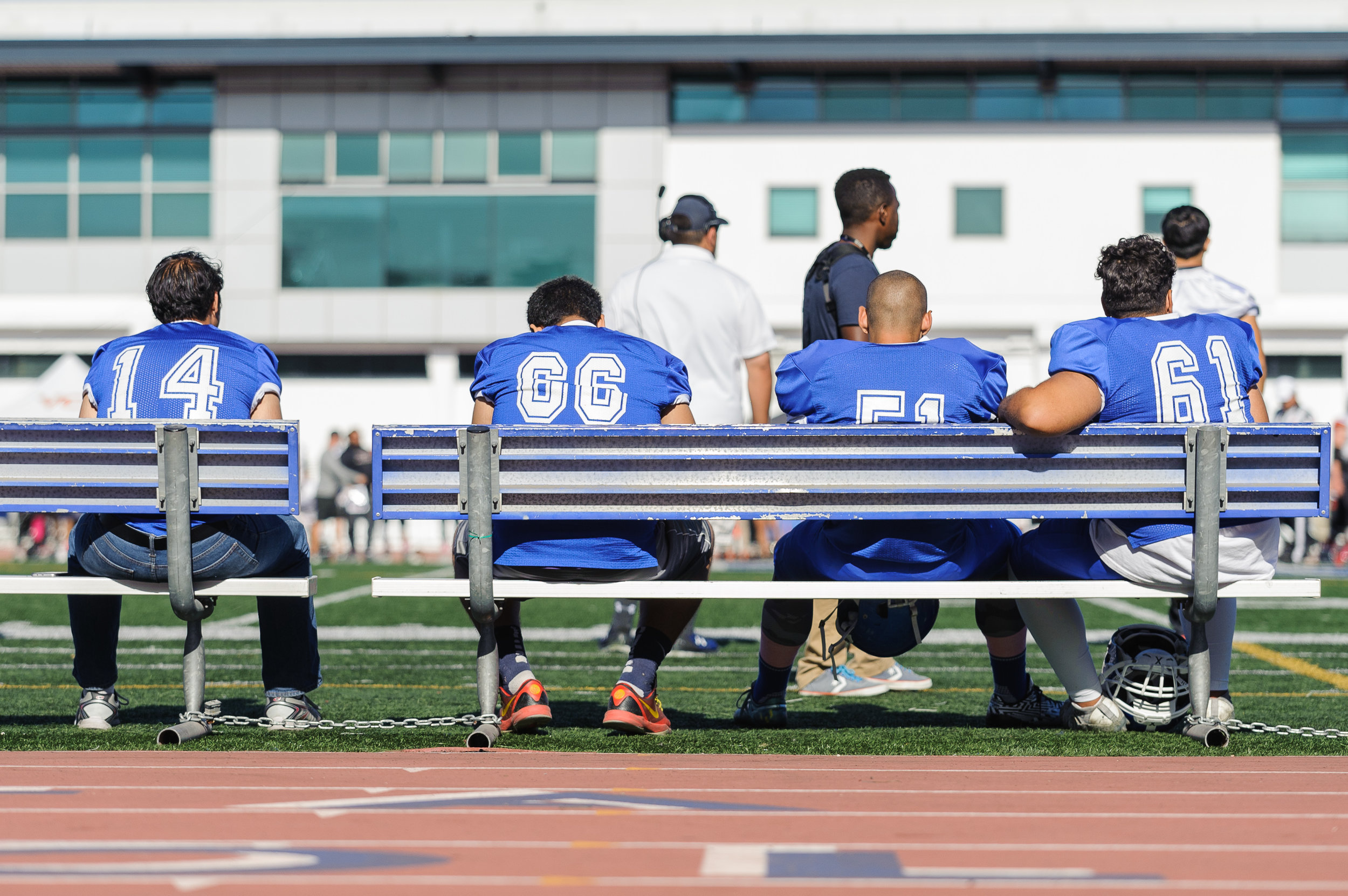 The Corsairs watches from the sidelines as they sit scoreless in a deep deficit. The Santa Monica College Corsairs lose to the Ventura College Pirates 0-55. The game was held at the Corsair Stadium at the Santa Monica College Main Campus in Santa Monica, Calif.. October 21, 2017. (Photo by: Justin Han/Corsair Staff)