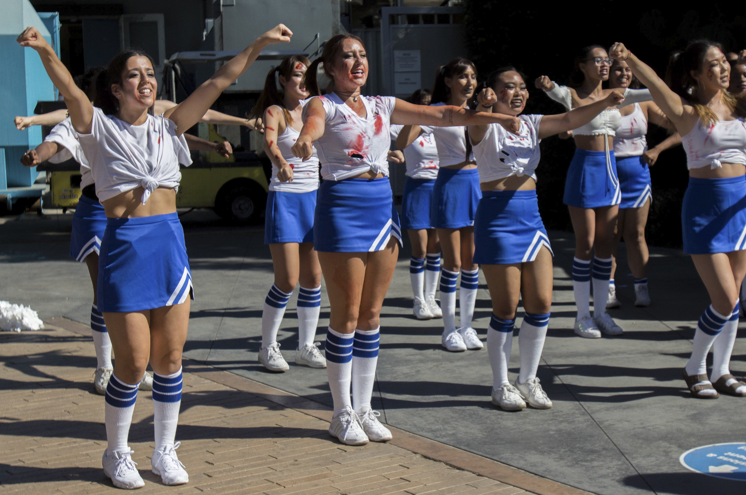 Members of the Cheer Club performing during Club Row at Santa Monica College on Thursday, October 26th, 2017 at Santa Monica, Calif. The Cheer Club gain more members compare to last year 12 member to this year 45 member. (Photo by Brian Quiroz))