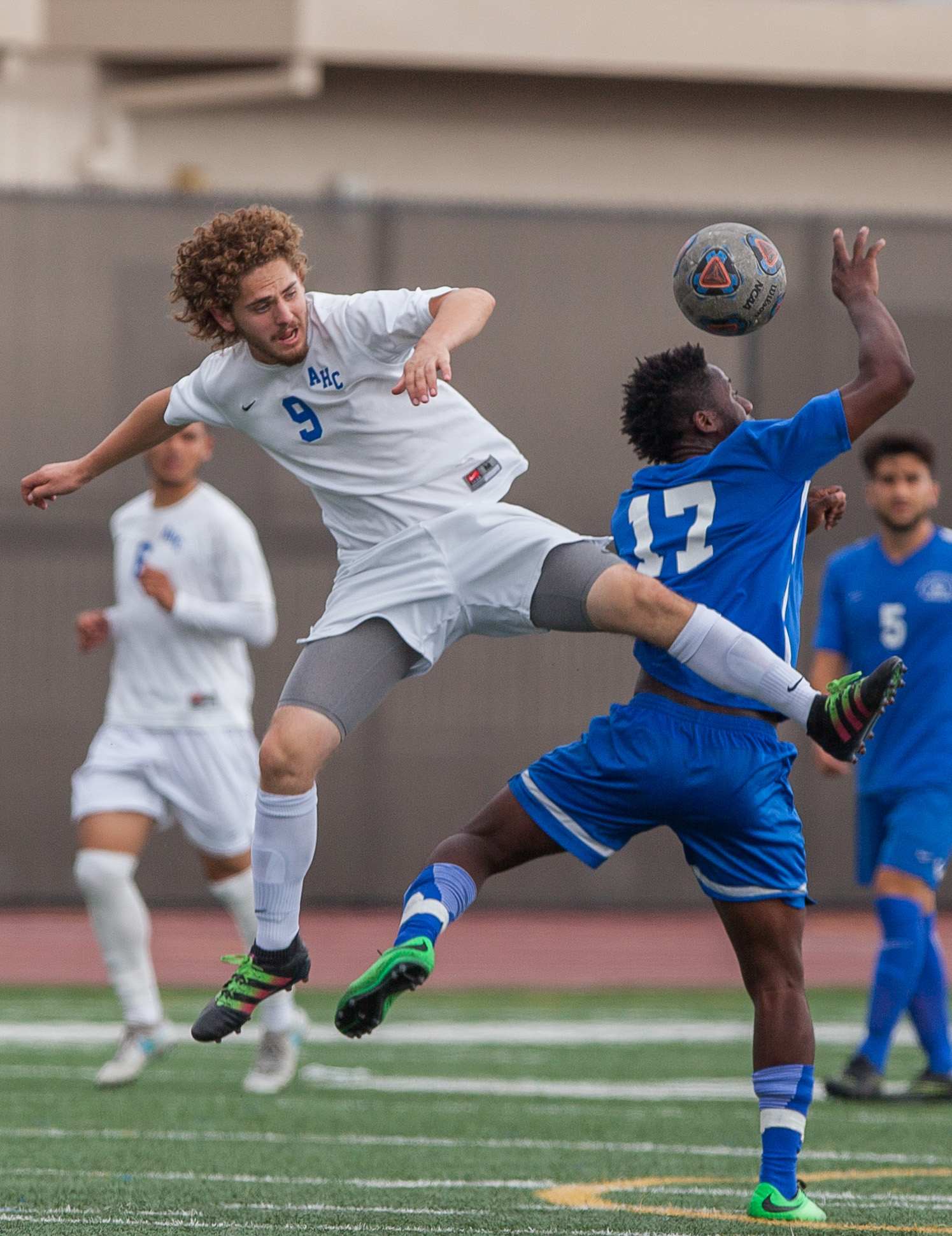 Cyrille Njomo (17) of the Santa Monica College jumps up to perform the ball. The game ended 1-1 resulting in a tie. The game was held at the Corsair Stadium at the Santa Monica College Main Campus in Santa Monica, California, on 31st of October, 2017. (Photo by: Elena Rybina)