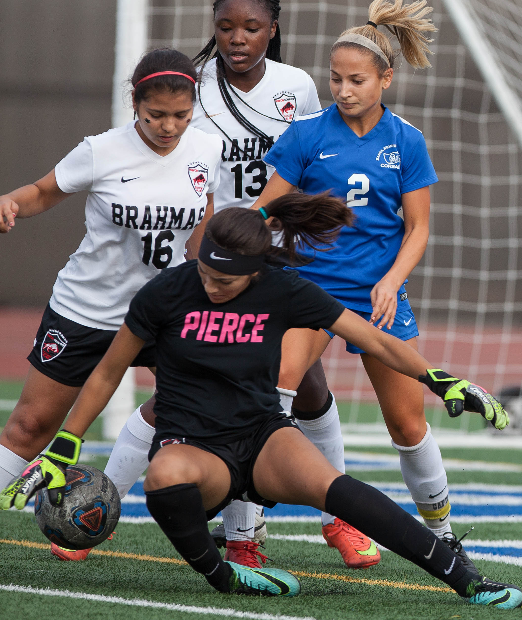 Pierce College Brahma Brianne Jacobo (1) intercepts the ball on the Corsair Field during the game against the Santa Monica College Corsairs at SMC on Tuesday, October 31, 2017 in Santa Monica, Calif. Corsairs win against the Brahmas 1-0 . (Elena Rybina)