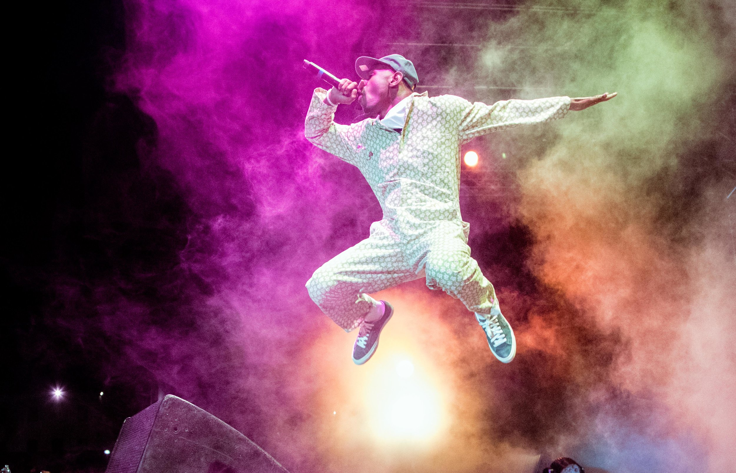 Tyler, The Creator, performer and creator the Camp Flog Gnaw,  gives an explosive performace on night 1 of music festival Camp Flog Gnaw Carnival in Los Angeles, Calif. The festival was held on October 28, 2017 as part of a 2 day event. (Photo: Jazz Shademan)