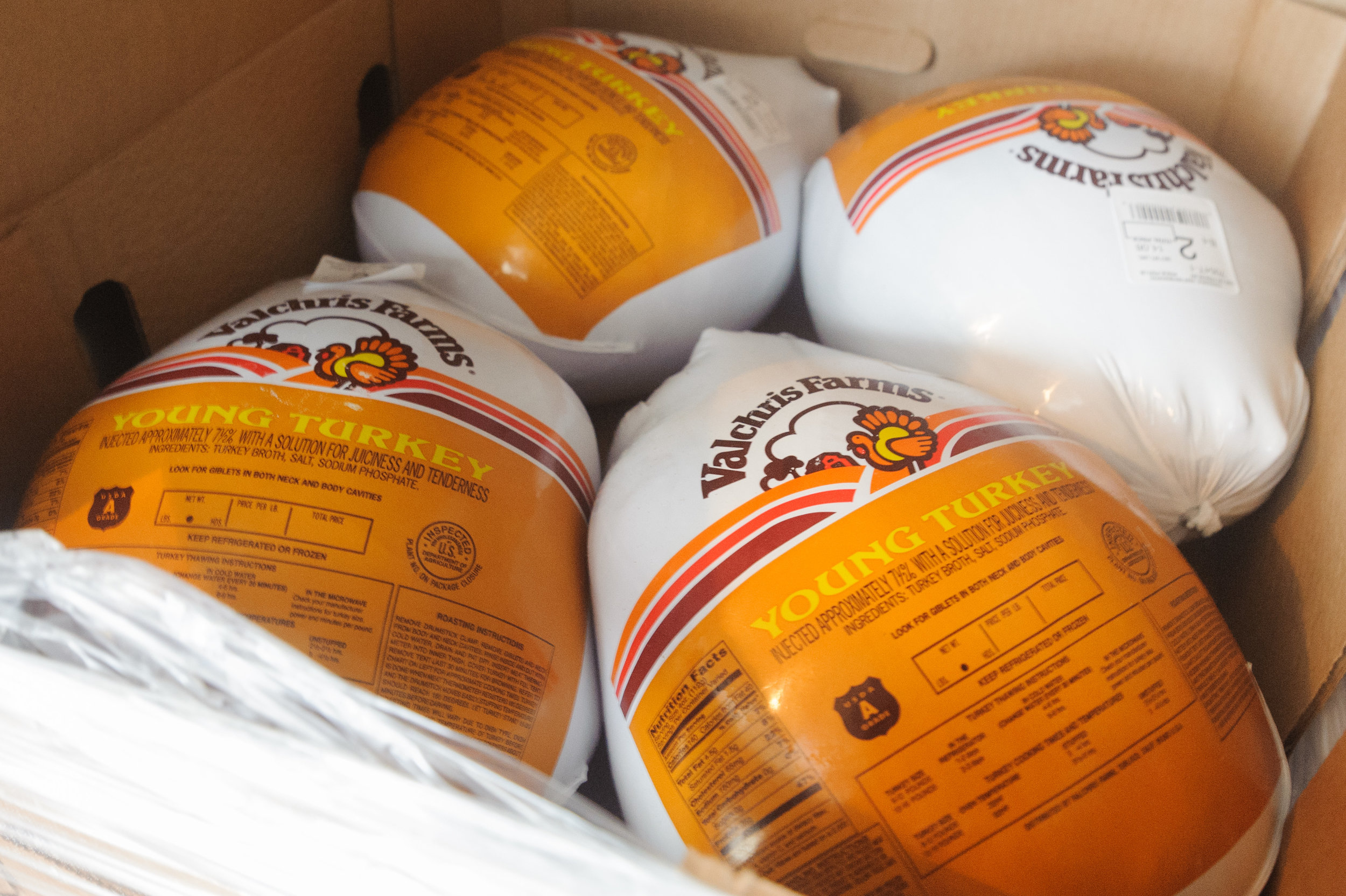 A box of frozen turkeys sits in the freezer of the Westside Food Bank's warehouse. Seasonal food items such as turkey are high demand during Thanksgiving time of the year. Westside Food Bank, Santa Monica Calif.. November 9, 2017. (Photo by: Justin Han/Corsair Staff)