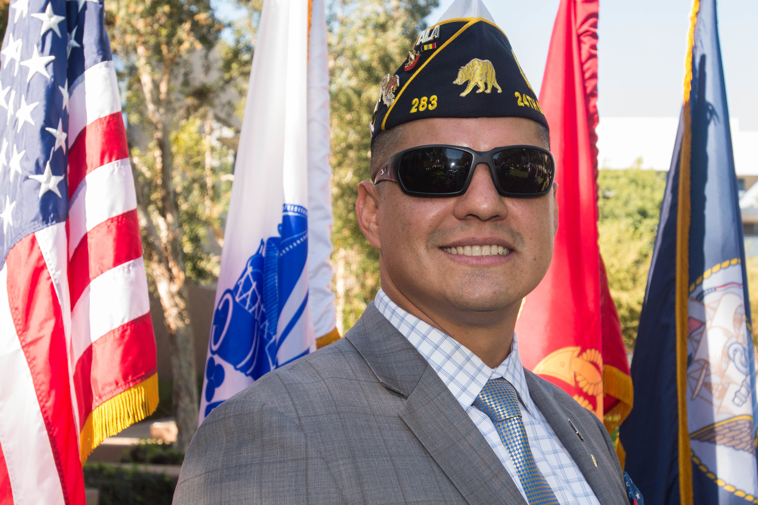 """Noe Aguirre, current Santa Monica College student veteran speaker at the """"Honoring Veterans from Veterans"""" event, poses for a portrait in the Santa Monica Main Campus quad located in Santa Monica College in Santa Monica, Calif.  Veteran Sergeant Aguirre served in the Marine Corps from 2007-2013 he was deployed to Iraq and Afghanistan during his time. """"Veterans are too busy trying to fit into the norm, but we aren't normal anymore"""" stated Veteran Sergeant Aguirre.  Photo by: Rosangelica Vizcarra"""