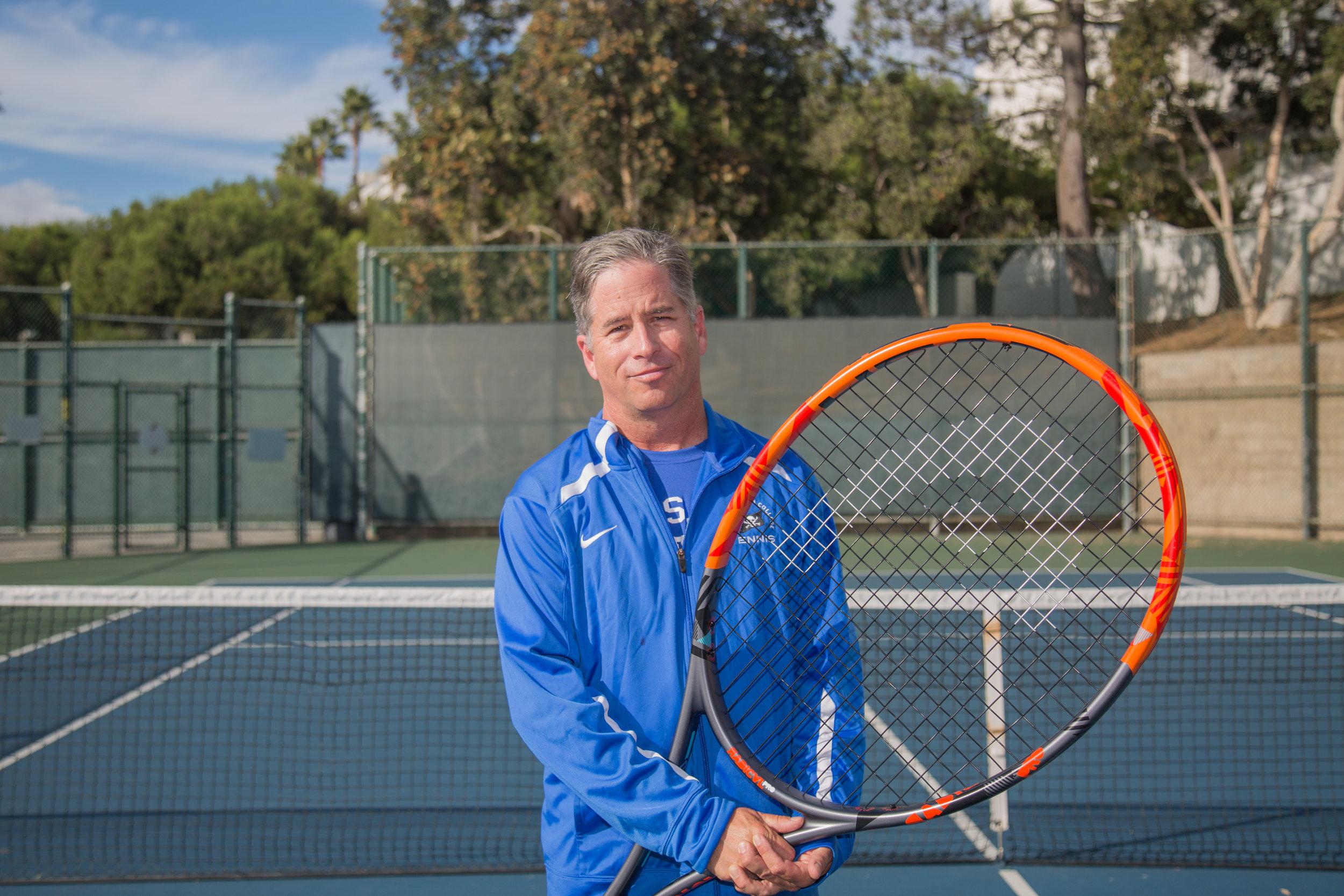 Richard Goldenson, the Head Coach of Women's Tennis Team at Santa Monica College, poses for a portrait at the Ocean View Park Tennis Court in Santa Monica, Calif. on Friday, Nov.17, 2017. (Photo by Yuki Iwamura)