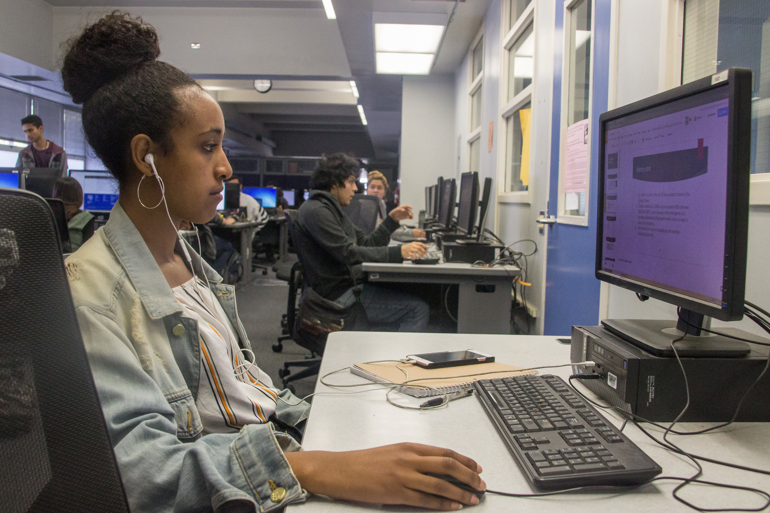 On Monday Nov. 27, 2017, Hanna Aregay, an international Santa Monica College student , originally from Ethiopia, studying to be a registered nurse works on her homework at the Associated Students Computer lab, located in the SMC Cayton Center, that has been a heated topic of debate recently as the Associated Students are planning to demolish a portion of it in order to begin costruction on the Social Justice/Gender Equity Center which was approved later that day by the A.S. during their weekly board meeting.