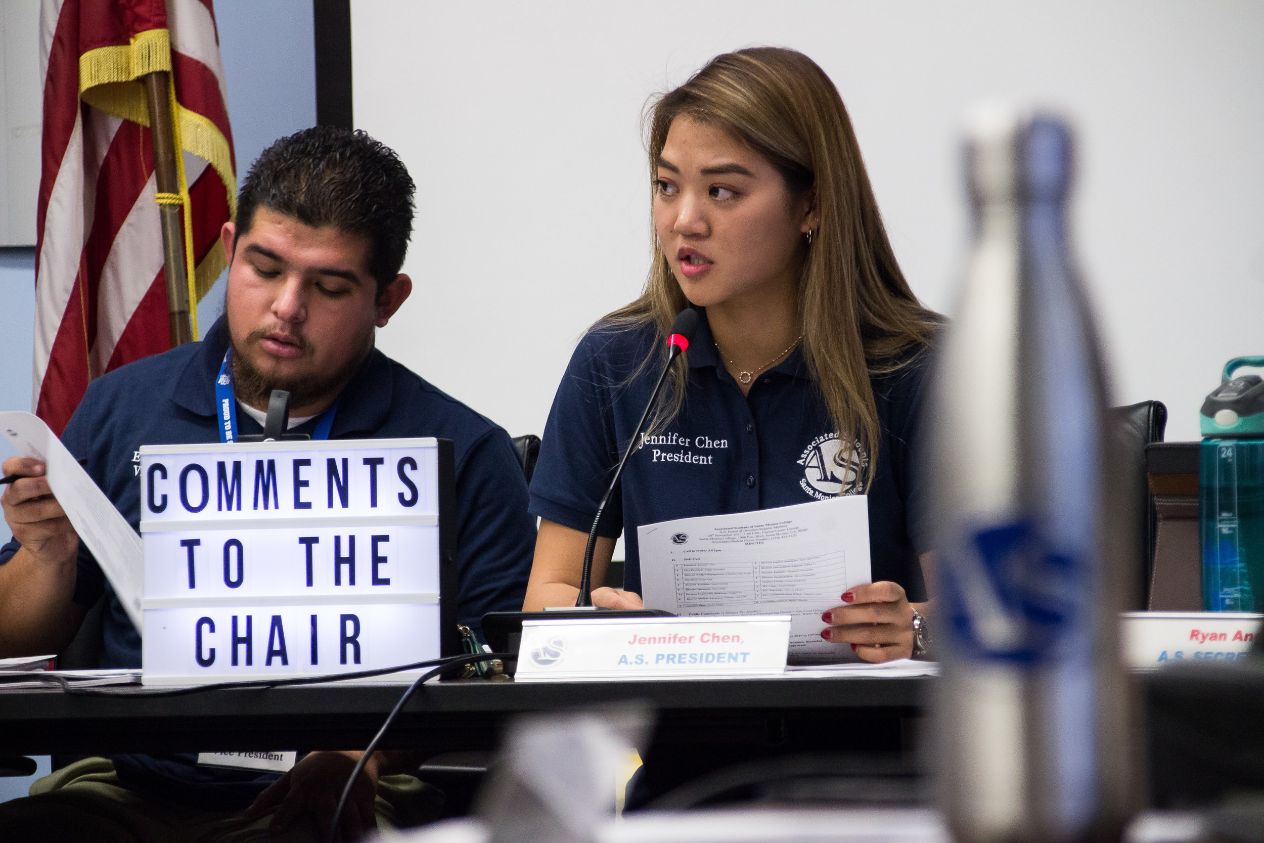 Edgar Gonzales, Associated Students Vice President, (left) and A.S. President, Jennifer Chen (right), discuss the proposal to build a Gender Equity Center in the Cayton Center in place of a portion of the A.S. Computer Lab on Monday, Nov. 27, 2017 in the Cayton Center at Santa Monica College.(Photo By: Marisa Vasquez)