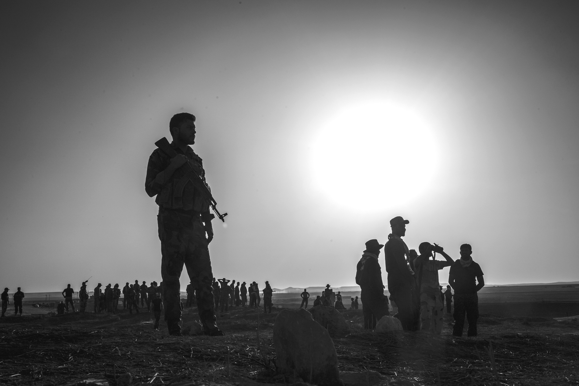 Iraqi soldiers patrol on the frontline outside of de facto ISIS capital of Mosul, Iraq, during early operations of the Mosul offensive, on October 31, 2016. Photo by: Alex Wroblewski/Contributor