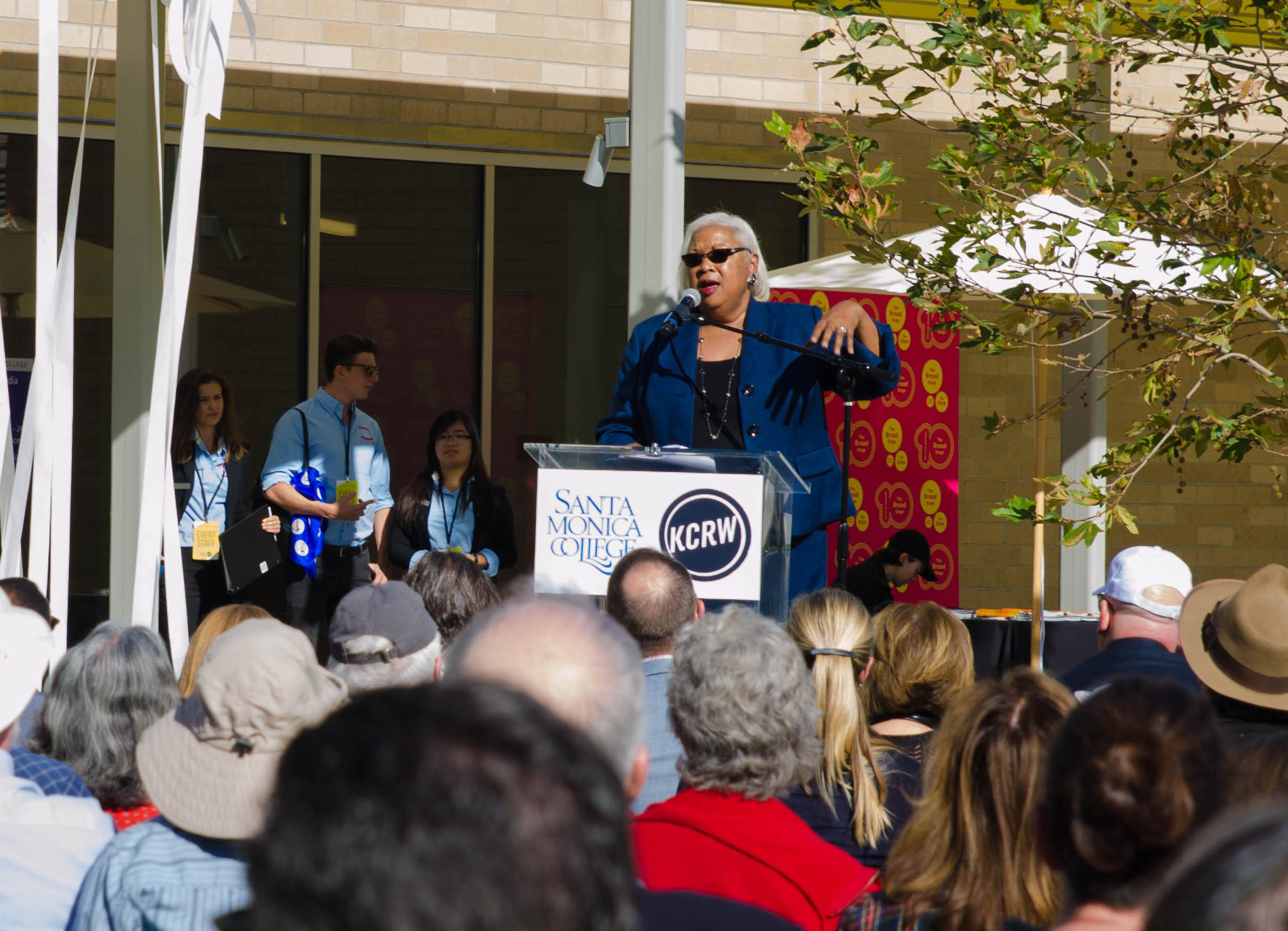SMC President Dr. Kathryn E. Jeffrey speaks to the audience of sponsors and contributers of the creation of the Center for Media and Design and KCRW Media Center. Santa Monica, Calif. December 2,2017 (Photo by: Diana Parra Garcia)