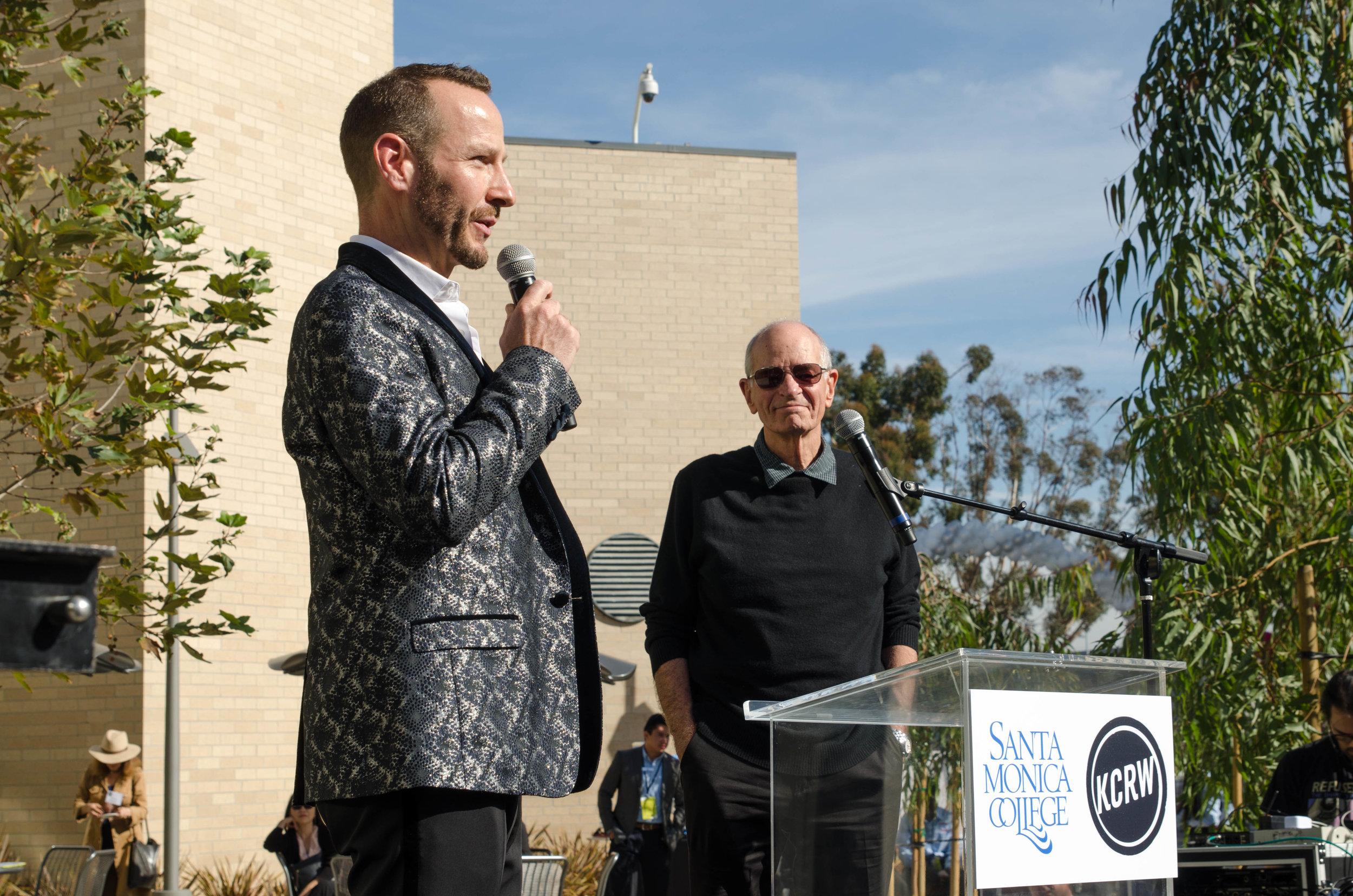 (Left to Right) KCRW Music Director Jason Bentley and KCRW Host Warren Olney speak at the ribbon cutting ceremony for KCRW and CMD. Santa Monica College CMD Campus. Santa Monica, Calif. December 2,2017 (Photo by: Diana Parra Garcia)