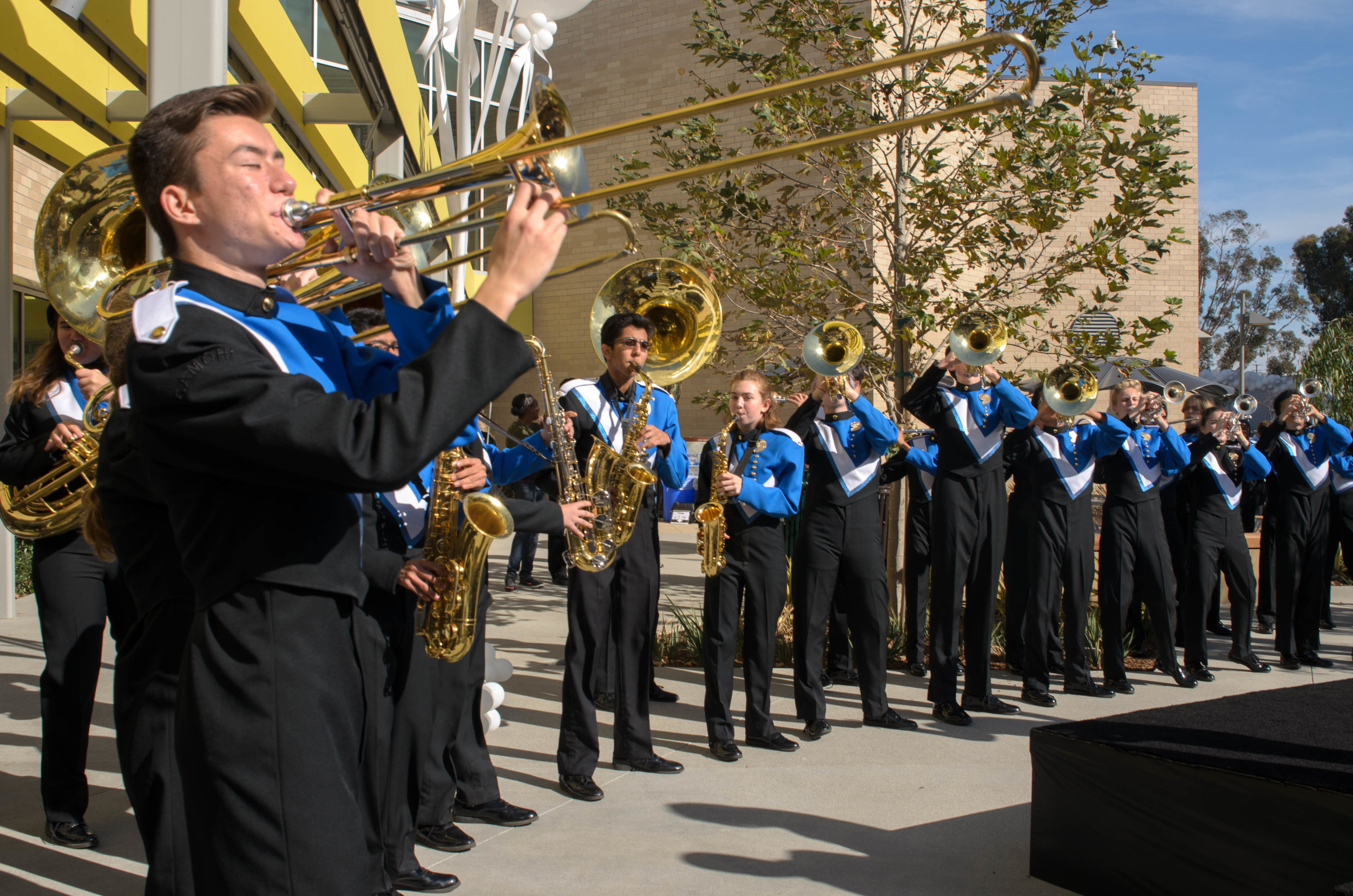 SAMOHI Viking Marching Band plays their fight song at the ribbon cutting ceremony for the opening of Center for Media and Design and KCRW Media Center. Santa Monica, Calif. December 2,2017 (Photo by: Diana Parra Garcia)