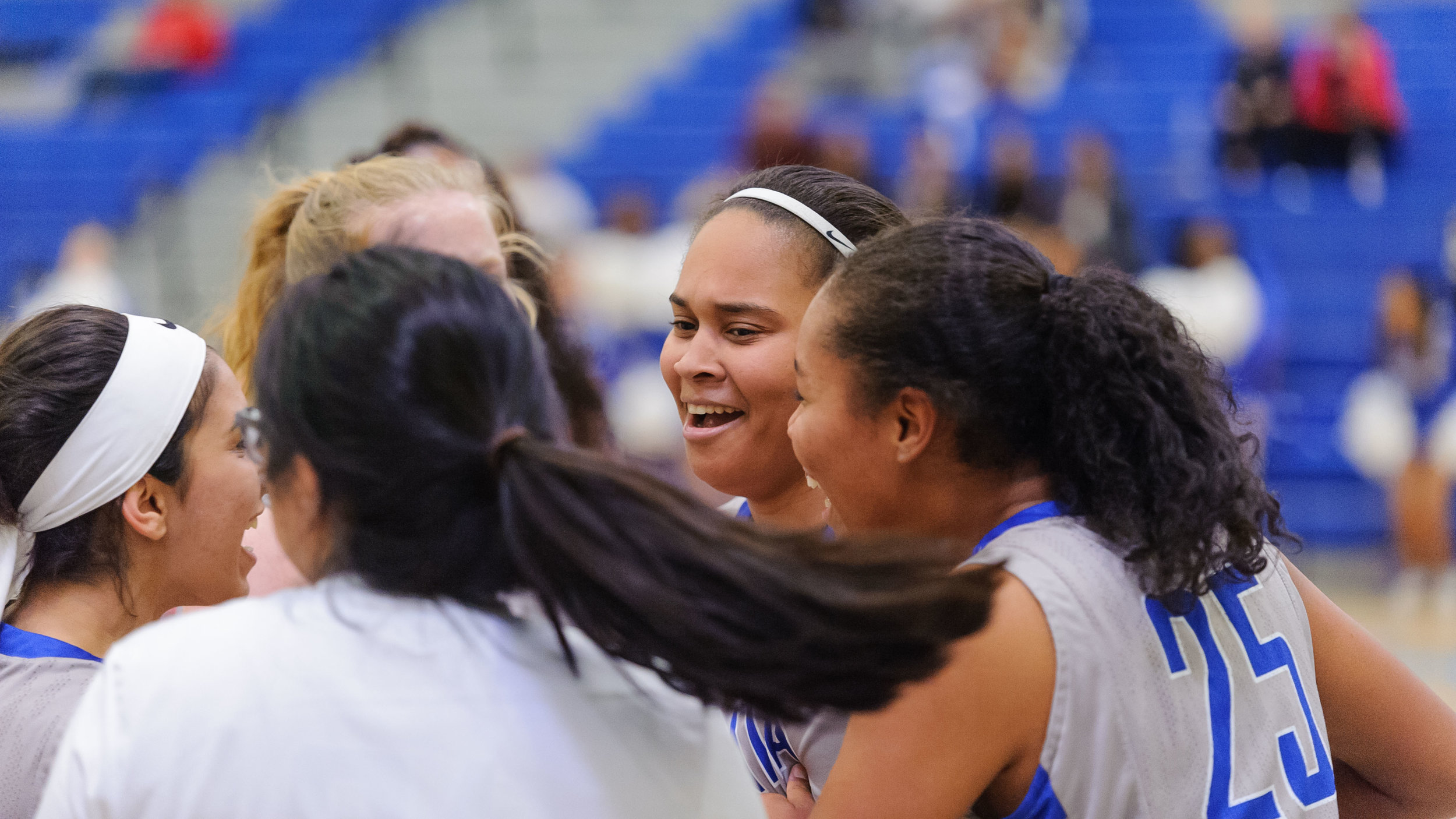 The Corsairs celebrate forward Rejinae Crandell's (0,Middle) three point make from half court at the end of the game. The Santa Monica College Corsairs win their final game of the season 76-53 against the Pierce College Brahmas. The game was held at the SMC Pavilion at the Santa Monica College Main Campus in Santa Monica, Calif.. February 17, 2018. (Photo by: Justin Han/Corsair Staff)