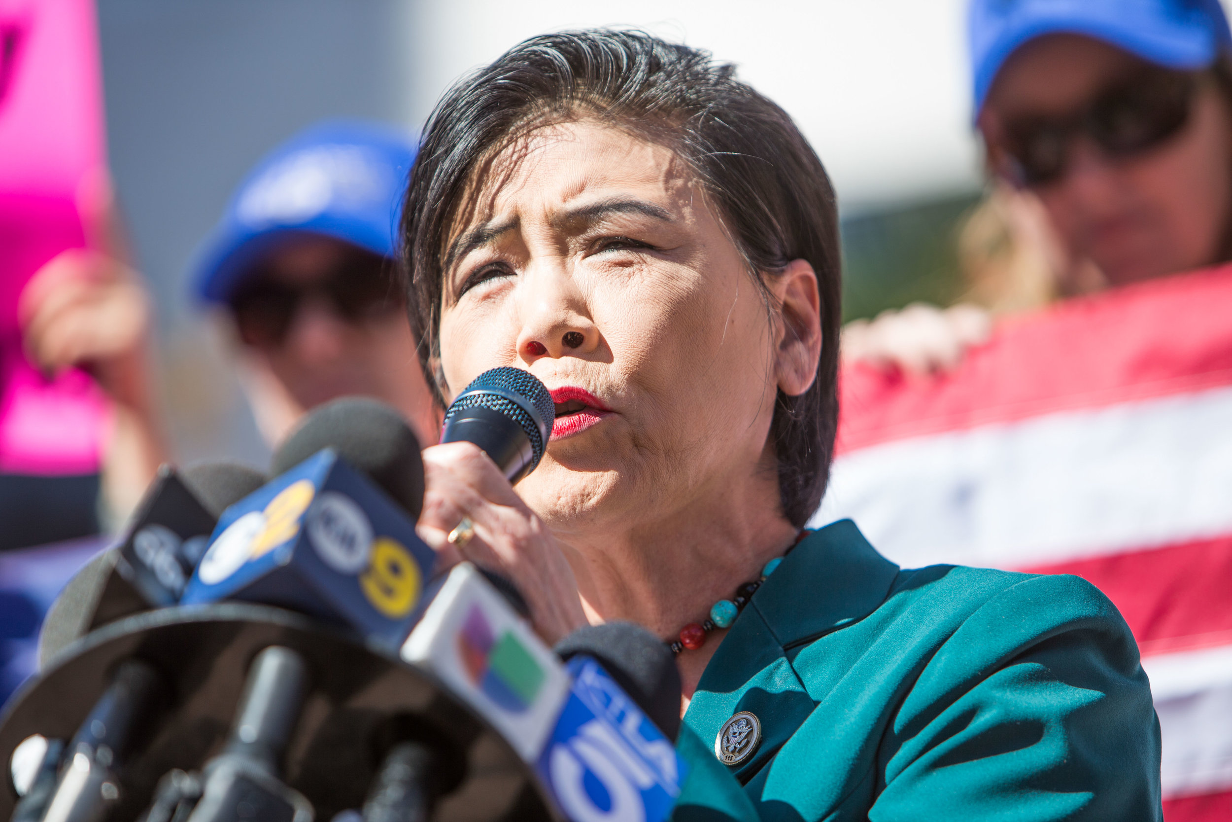 The 27th, Calif. district  Democratic U.S. representative Judy Chu spoke to Hundreds of peaceful protestors that gathered in Downtown Los Angeles to talk about stricter gun control laws in the U.S. on Monday February 19, 2018. Pershing Square, Los Angeles Calif.. (Photo By: Daniel Bowyer)