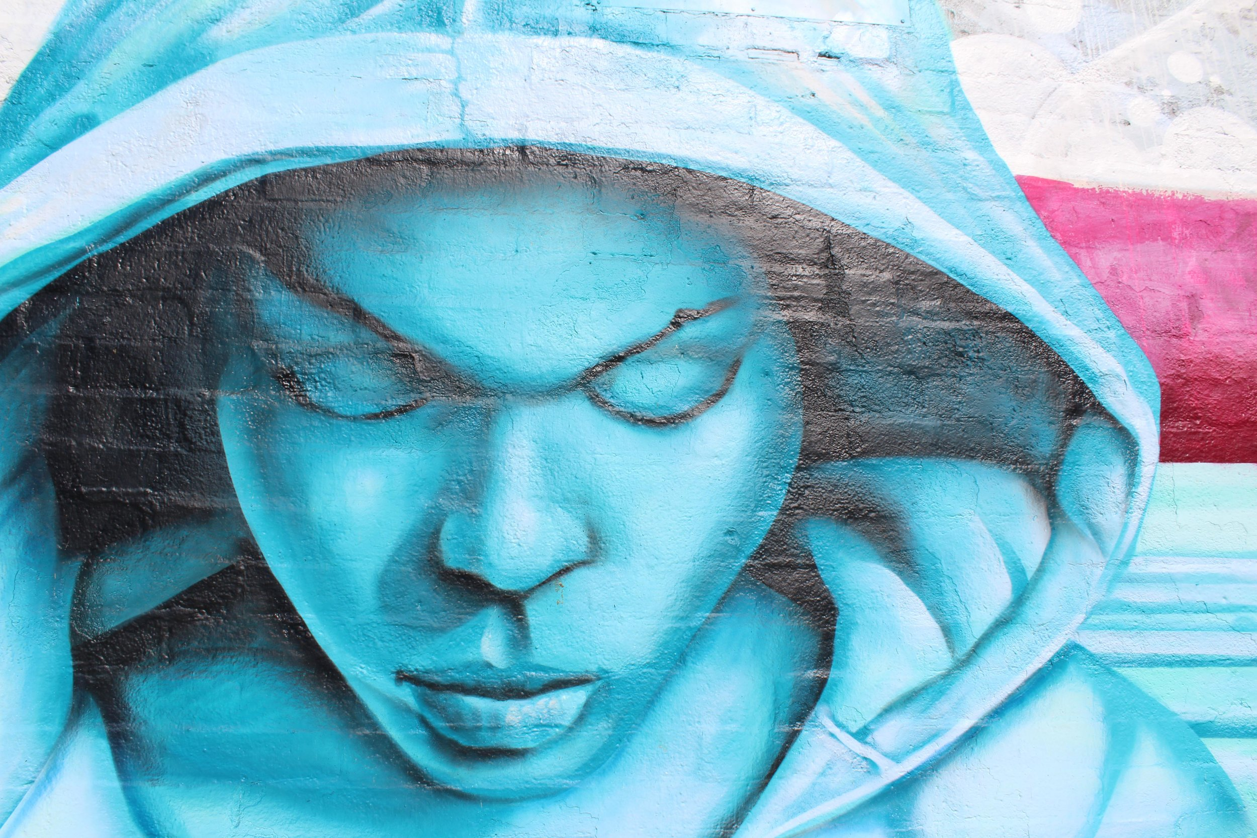 A very focused individual has been depicted onto a mural in Santa Monica, Calif. On Pico Blvd.