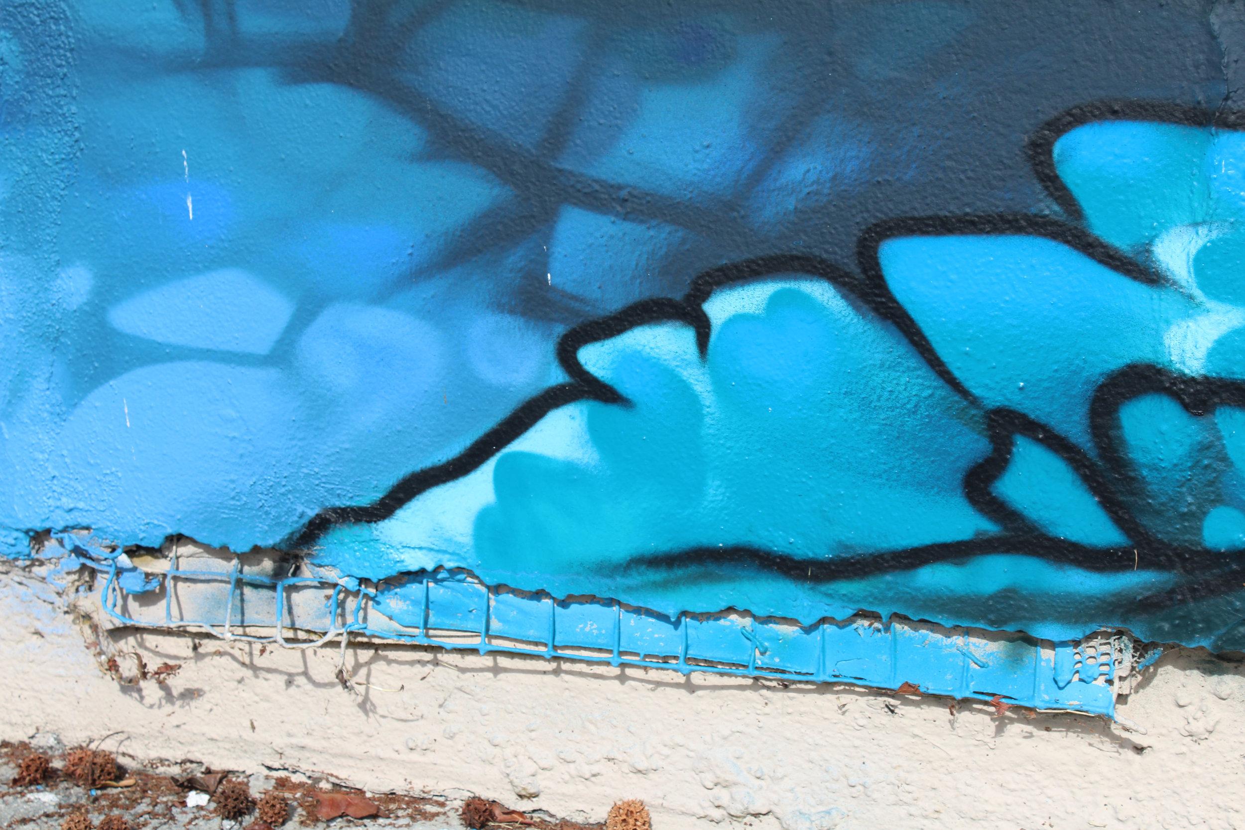 Murals that show slight damage located on Pico Blvd in Santa Monica, Calif.