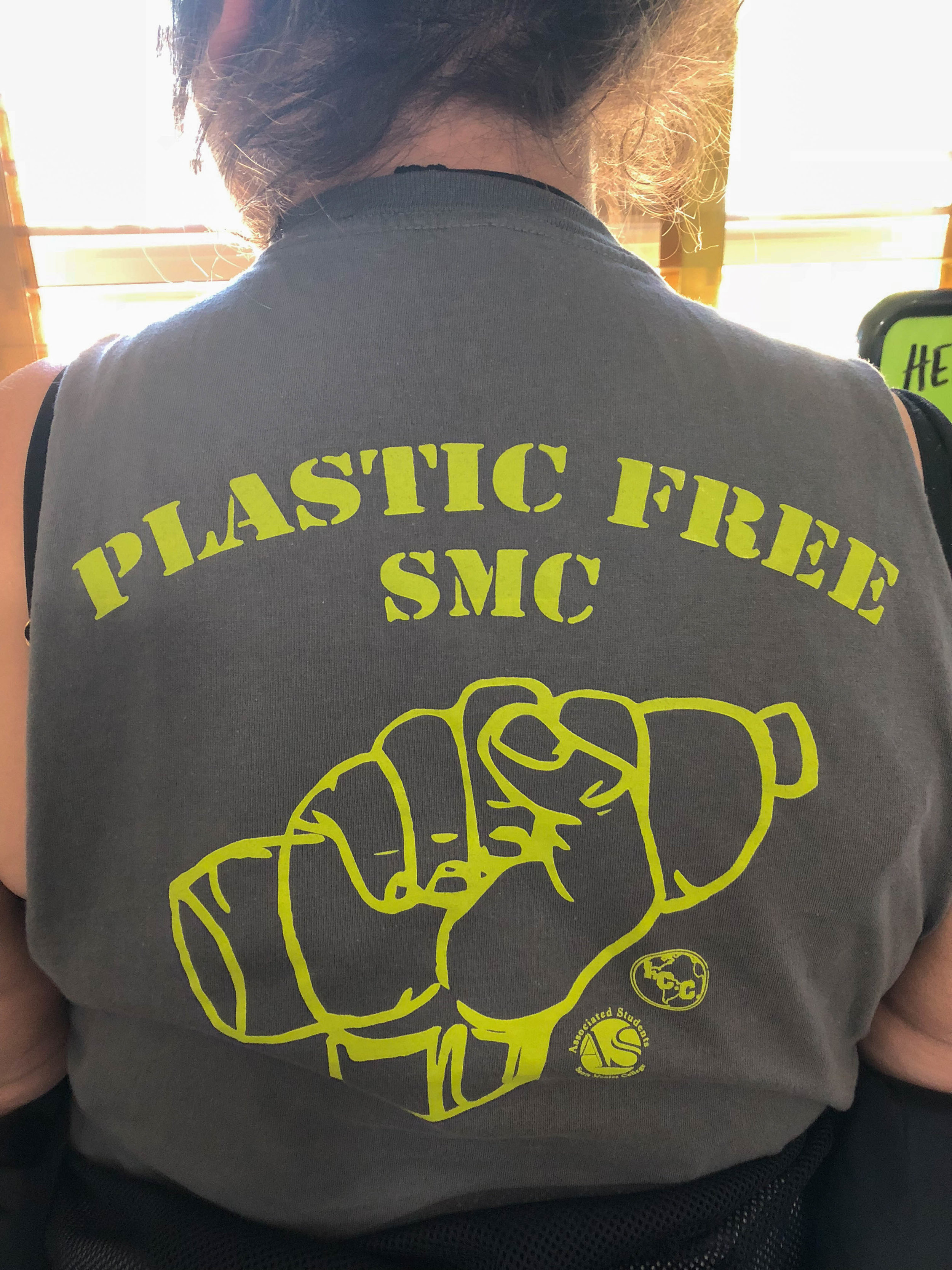 Vice President of Free Plastic SMC, Ashley Avant, sports the clubs shirt from last year in Santa Monica, Calif on Thursday, Febuary 22nd, 2018. (Photo by: Trevor Jackson)