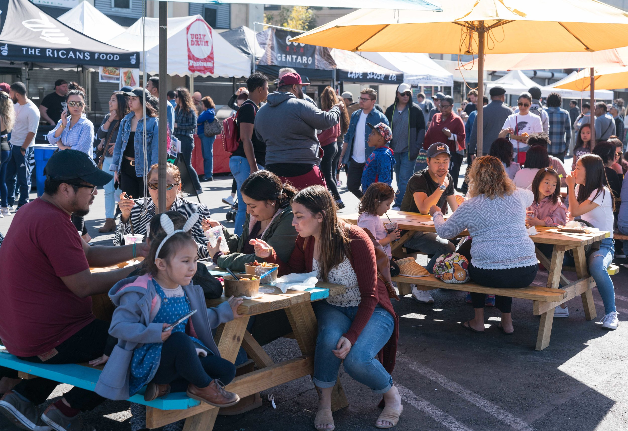Diners at Smorgasburg LA in the downtown section of Los Angeles, Calif. on Sunday, February 25, 2018. Smorgasburg LA is a collection of food and shopping vendors that gather each Sunday at Row DTLA. (Photo by Helena Sung)