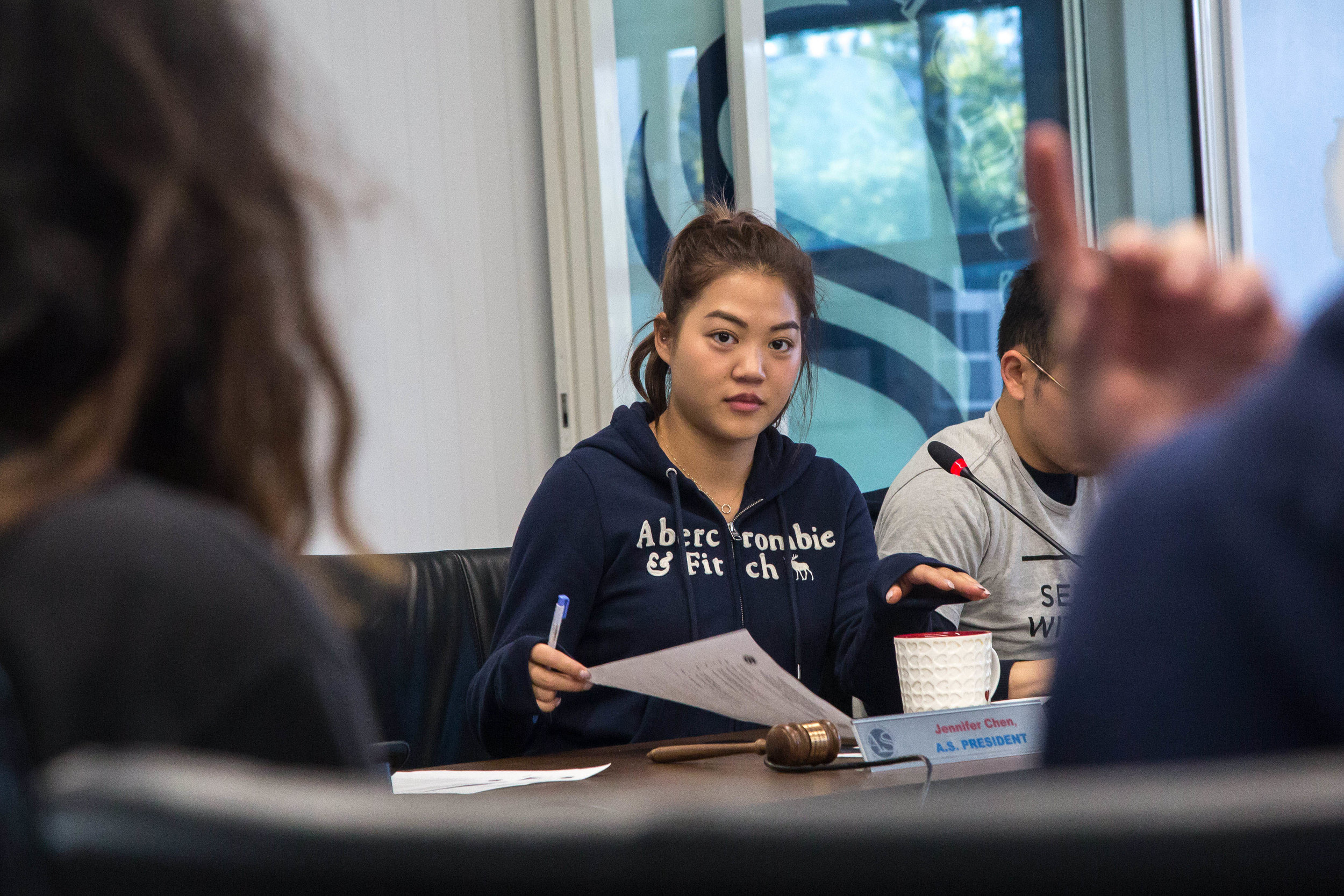 Associated Student President Jennifer Chen discusses some of the ideas put forward by Santa Monica College students during the public comments forum with members of the A.S Board of Directors during the A.S Board of Directors meeting in the Cayton Center Lounge on the Santa Monica College main campus in Santa Monica Calif., on Monday February 26, 2018. The agenda consisted of a public forum, guest speakers, Consent Action Items (under $1000) and Major action items (over $1000). (Corsair Photo: Matthew Martin)