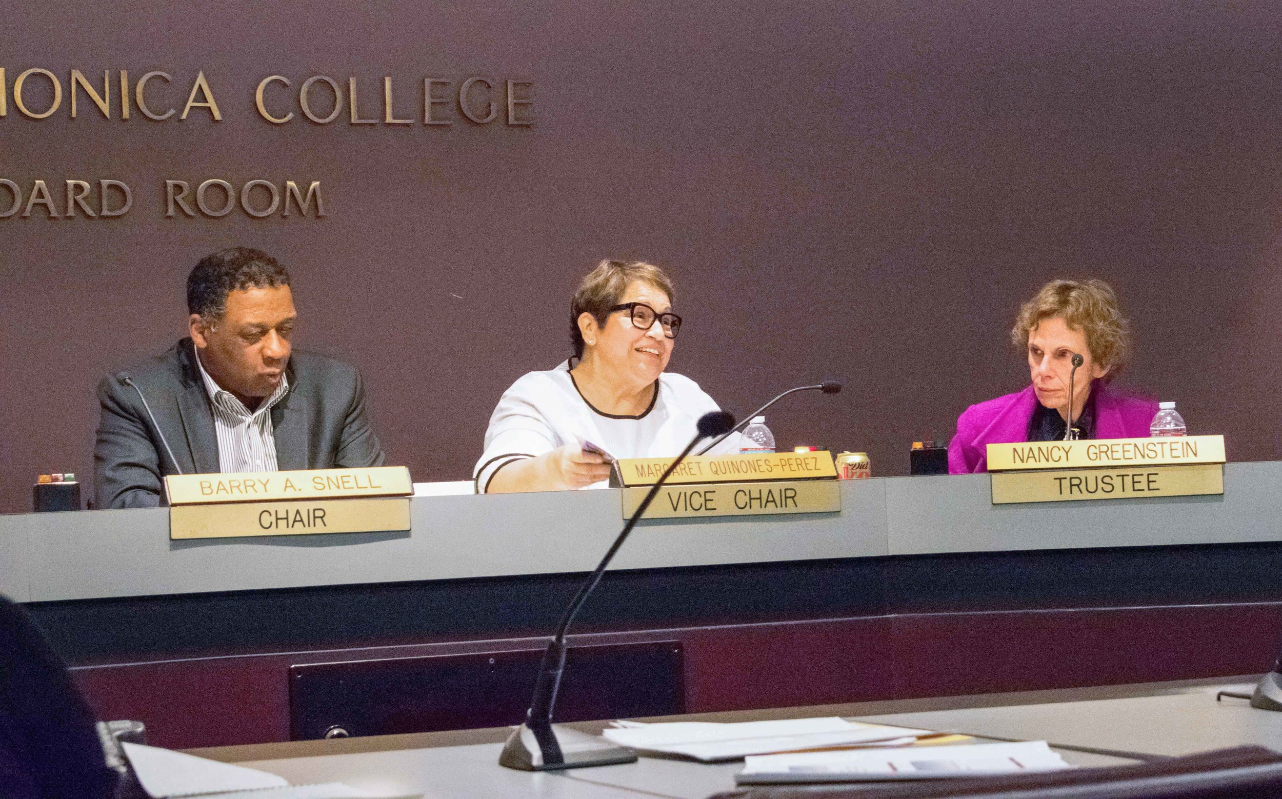 The Board of Trustees at Santa Monica College, partially pictured from left to right are Chair Barry Snell, Vice Chair Dr. Margaret Quinones-Perez, and Trustee Dr. Nancy Greenstein meet monthly to discuss items and other topics pertaining to the school in Santa Monica, California on Tuesday, March 6, 2018. Trustee Quinones-Perez talks about the work that the Disabled Students Program and Services has been doing on campus during a report given by the center. (Photo by Ethan Lauren/Corsair Staff)