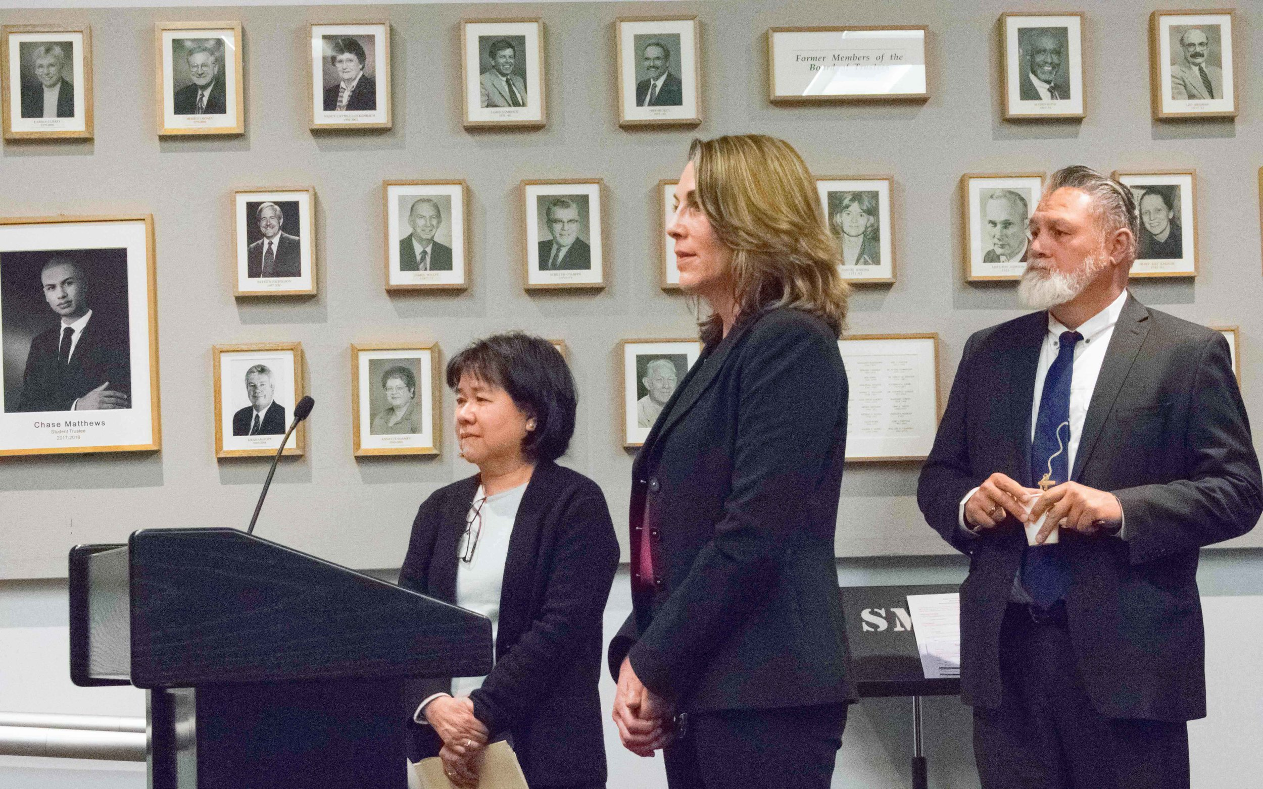 During the monthly Board of Trustees meeting, representatives of the Disabled Students Program and Services, pictured left to right are Faculty Coordinator Nathalie Laille(cx), Director Stephanie Schlatter, and Mike Tuitasi, Vice President of Student Affairs discuss how the center has been doing in recent months at Santa Monica College in Santa Monica, California on Tuesday, March 6, 2018. (Photo by Ethan Lauren/Corsair Staff)