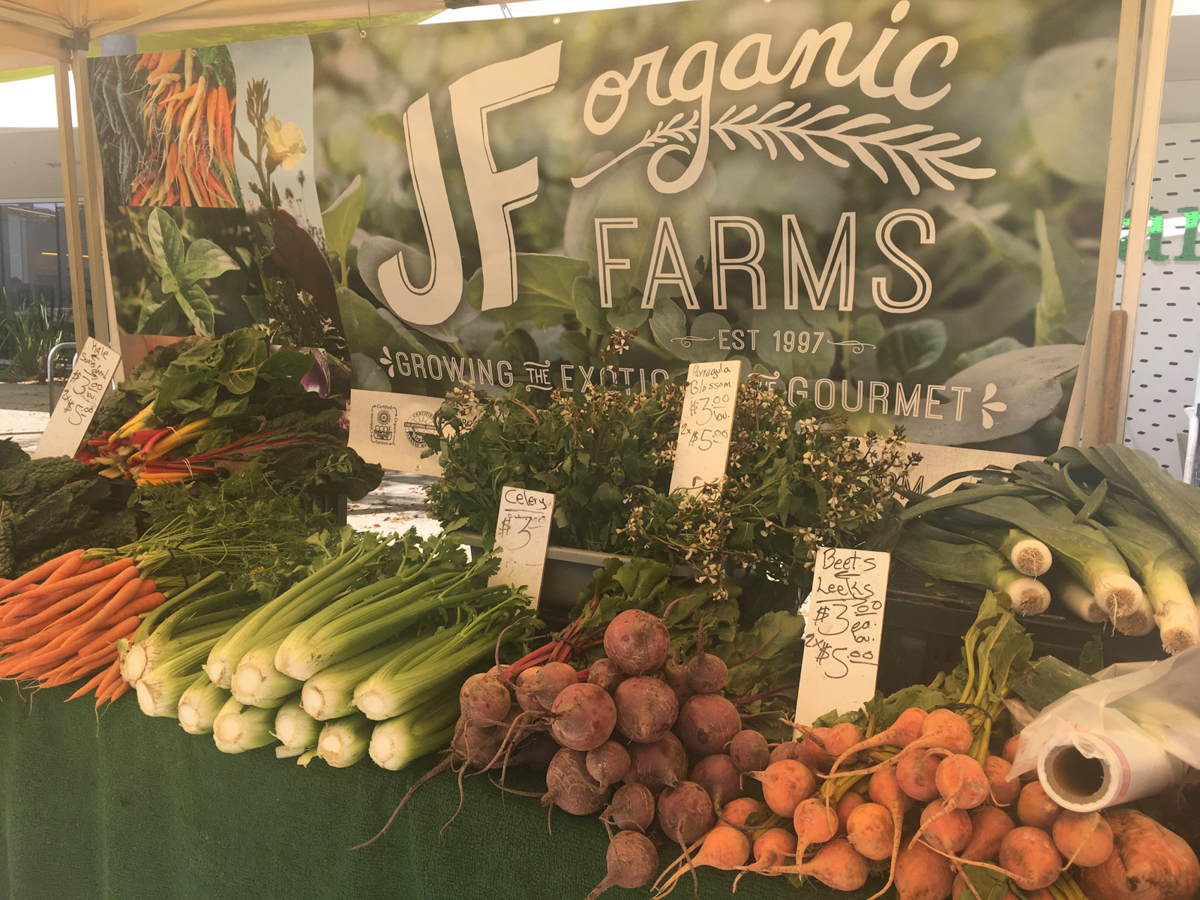 The fresh selection of organic vegetables sold by JF Organic Farms at their stand at the Santa Monica Farmers Market in Virginia Avenue Park in Santa Monica, Calif. on March 3, 2018.(Photo by: Claudia Vardoni)