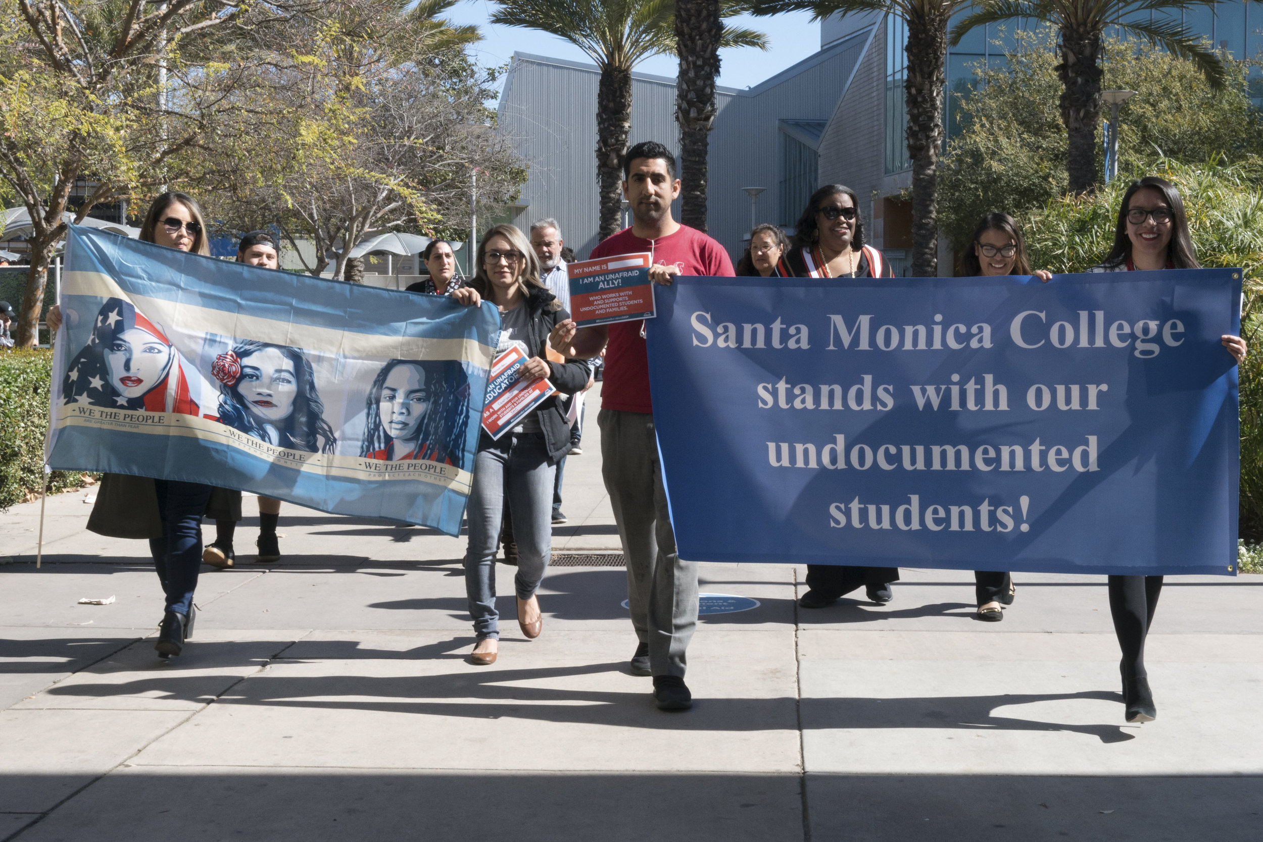 Santa Monica College students, faculty, and staff march on a DACA Day of Action gathering on Monday, March 5, 2018 at SMC's main campus in Santa Monica, Calif. The day marked the date the DACA program was set to expire; however, the DACA program is still in place due to injunctions issued by federal district courts in recent months. (Photo: Helena Sung)