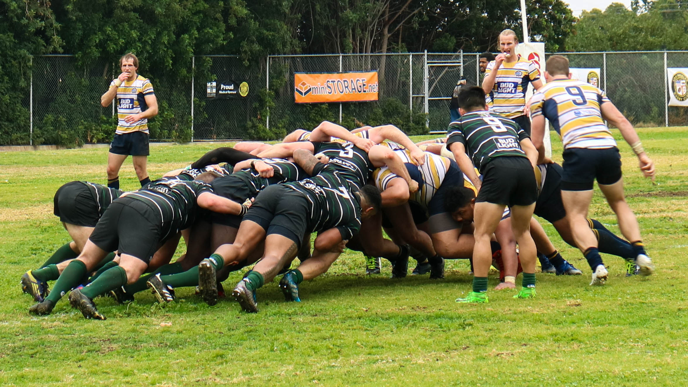 The Santa Monica Dolphins rugby team form a scrum with their Belmont Shore opponents due to a minor infringement in Palos Verdes California on Saturday, March 10, 2018. The Santa Monica Dolphins would go on to lose the game 3-19 against Belmont Shore. (Photo By: Jennifer Nystrom)