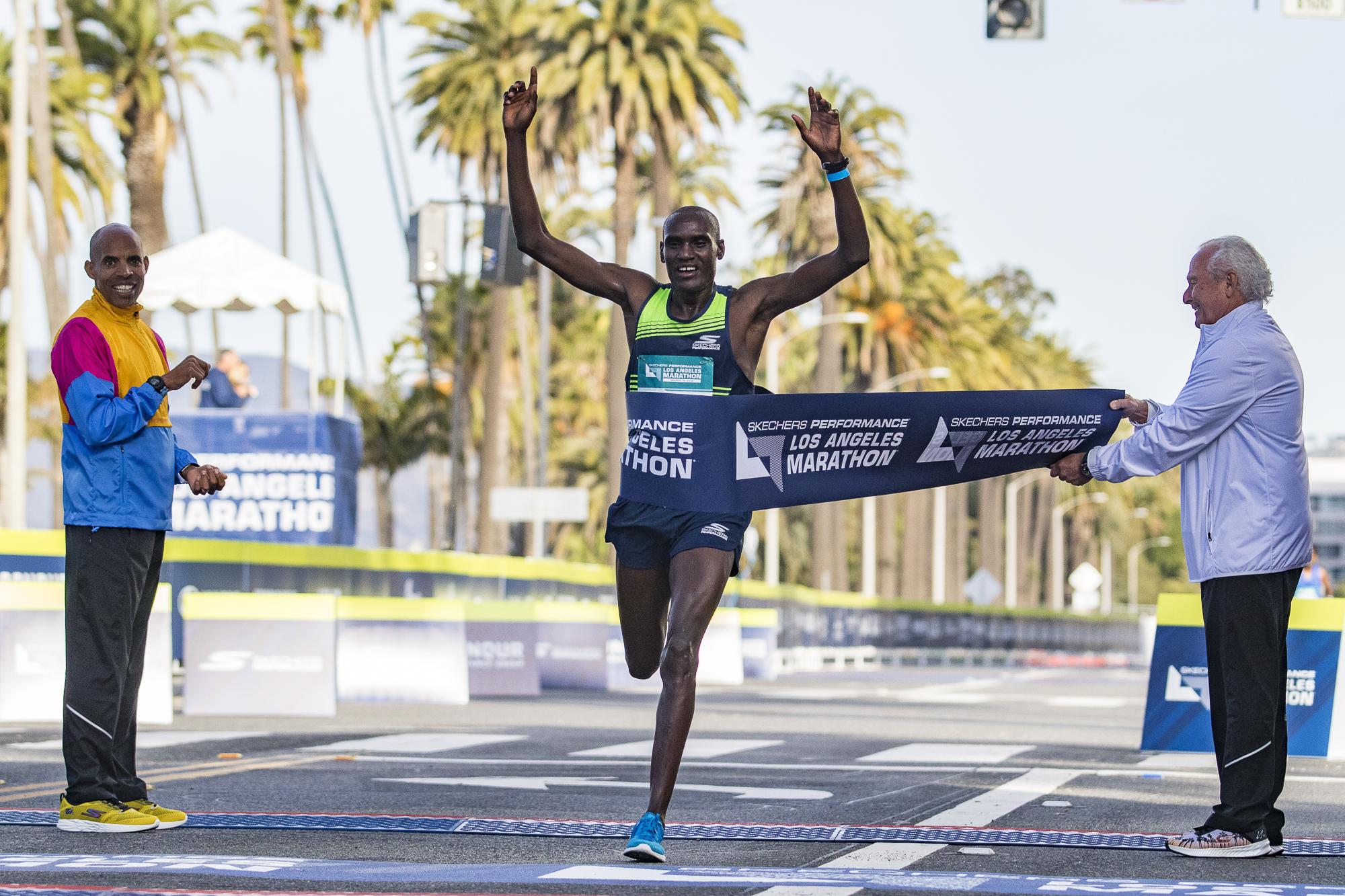 Weldon Kirui (middle) wins the Los Angeles Marathon on March 18, 2018 in Santa Monica, California with a time of 2:11:48. Kirui has won 2 out of the last 3 Los Angeles Marathons. (Zane Meyer-Thornton/Corsair Photo)