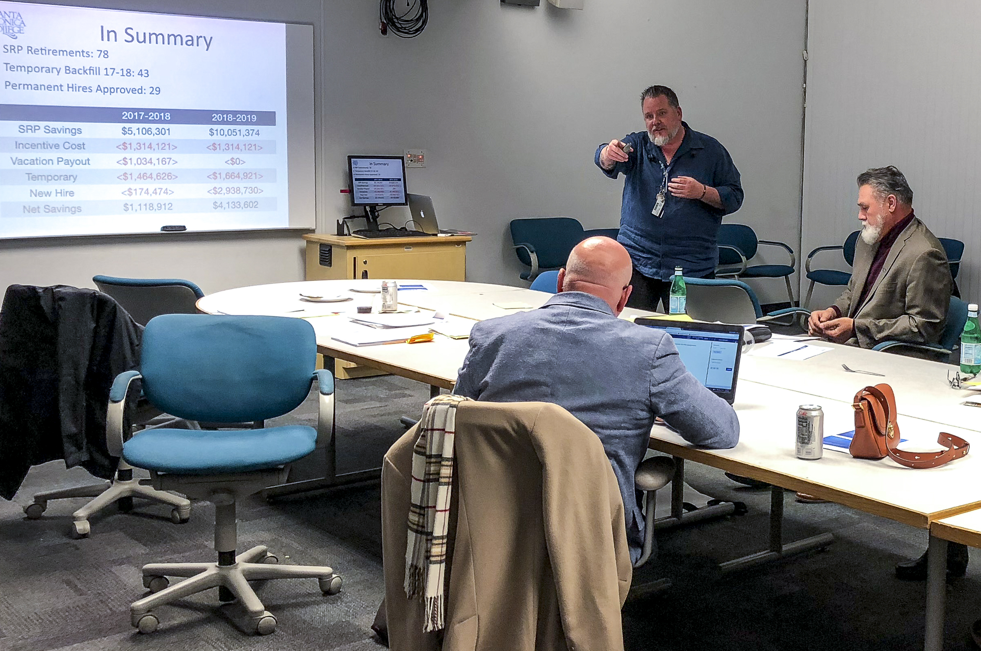 Chris Bonvenuto, director of fiscal services at Santa Monica College, presents a slide show to the Board of Trustees with an update on the Supplemental Retirement Plan on March 20, 2018 at SMC in Santa Monica, California during the Board of Trustees meeting. (Ryanne Menna/Corsair Photo)