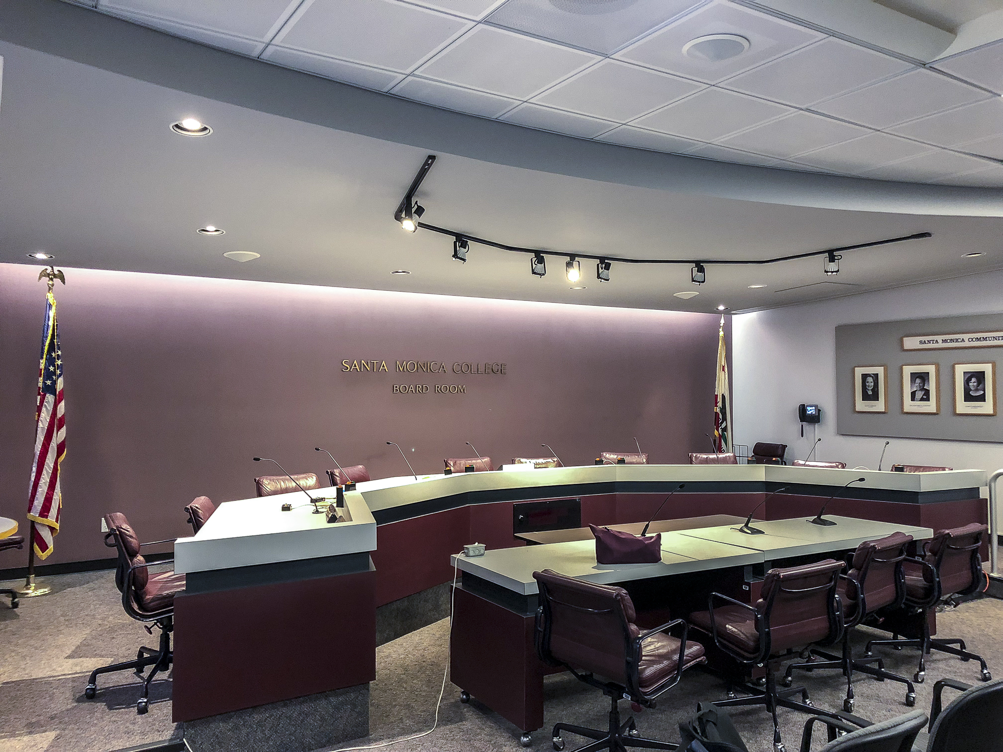 Santa Monica College's Board Room in the Business Building at SMC in Santa Monica, California on March 20, 2018 before the Board of Trustees meeting commenced.