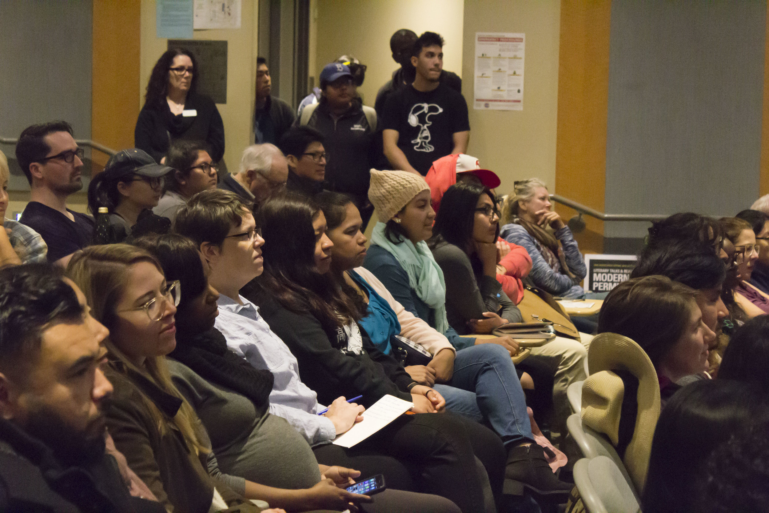 Jenny Lorenzo, the Award Winning YouTube star, talked to the students about promoting Latinx Voices in Social Media, at Santa Monica College, in Santa Monica, California, on Tuesday, March 20, 2018.  The room HSS165 and its 120 seats were full, about 15 students had to wait in the hallway, by the door. (Emeline Moquillon/Corsair Photo)