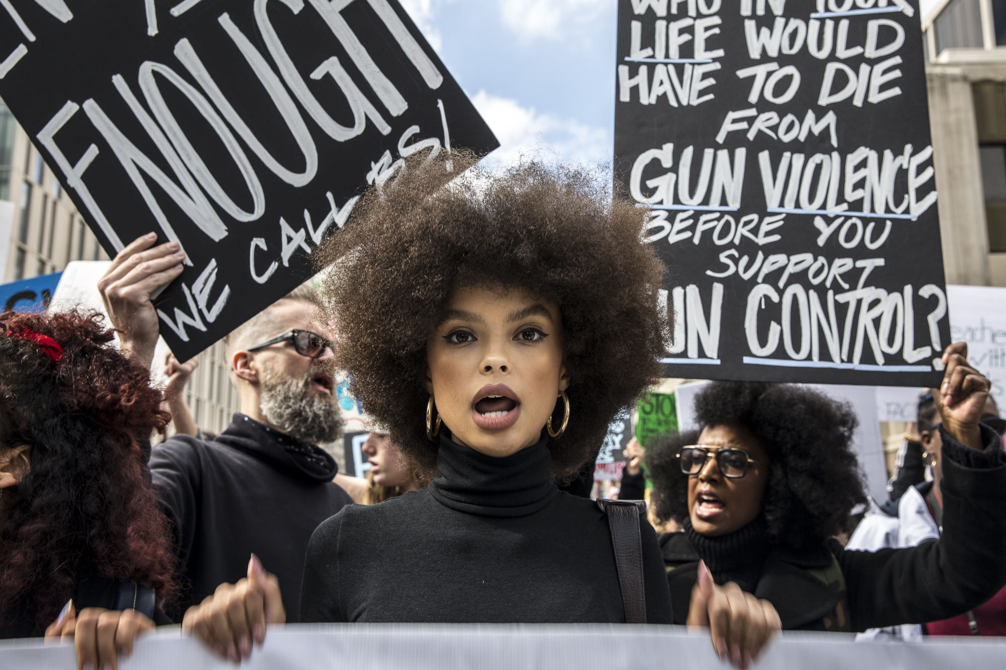 A March for Our Lives demonstrator, who wished to rename anonymous, leads the march that took place in front of Los Angeles City Hall, in Downtown Los Angeles, California on Saturday, March 24 2018. (Matthew Martin/Corsair Photo)