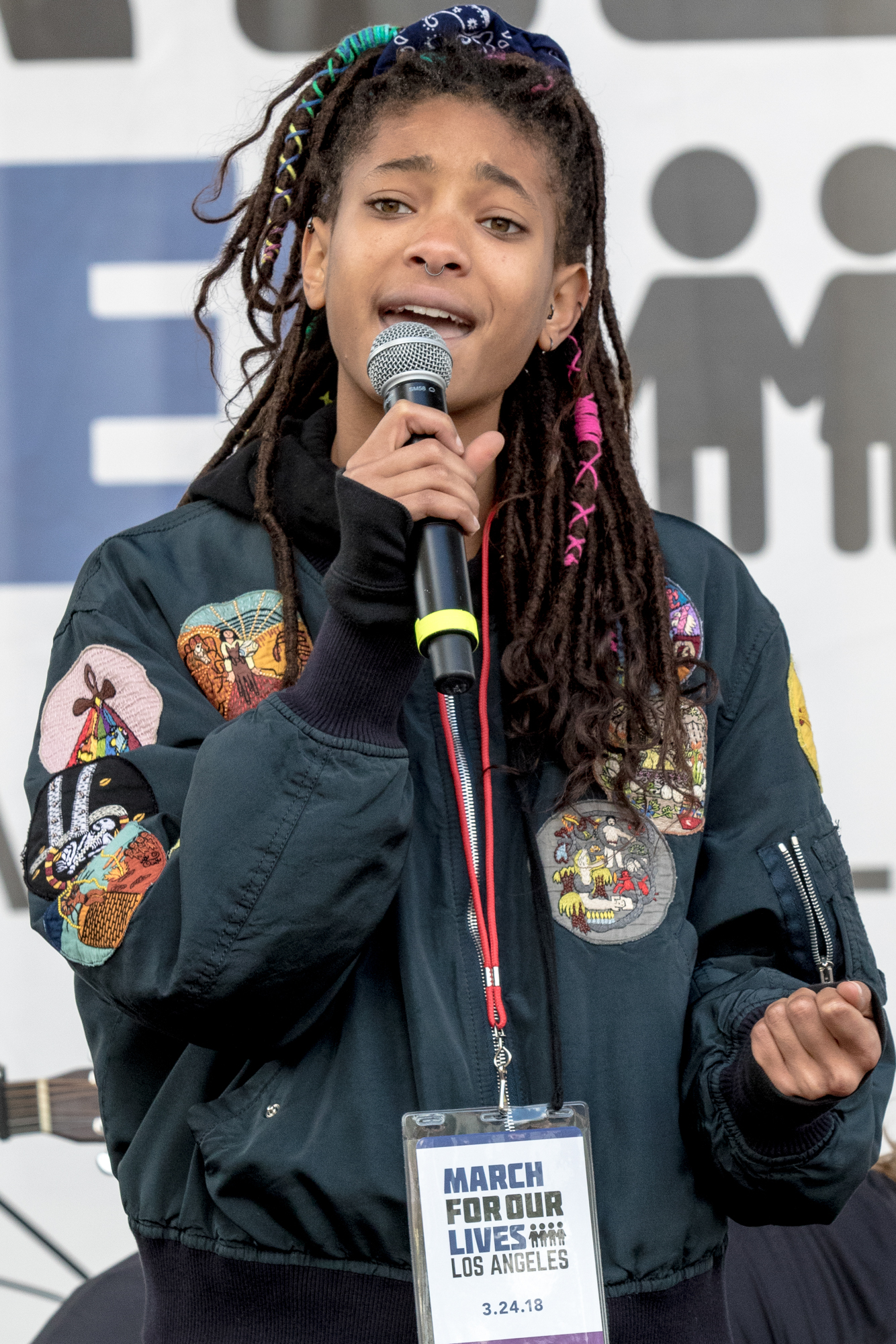 Willow Smith was one of the many celebrities who came to show support for striceter gun laws at the March For Our Lives protest on March 24, 2018 in Los Angeles, California. (Zane Meyer-Thornton/Corsair Photo)
