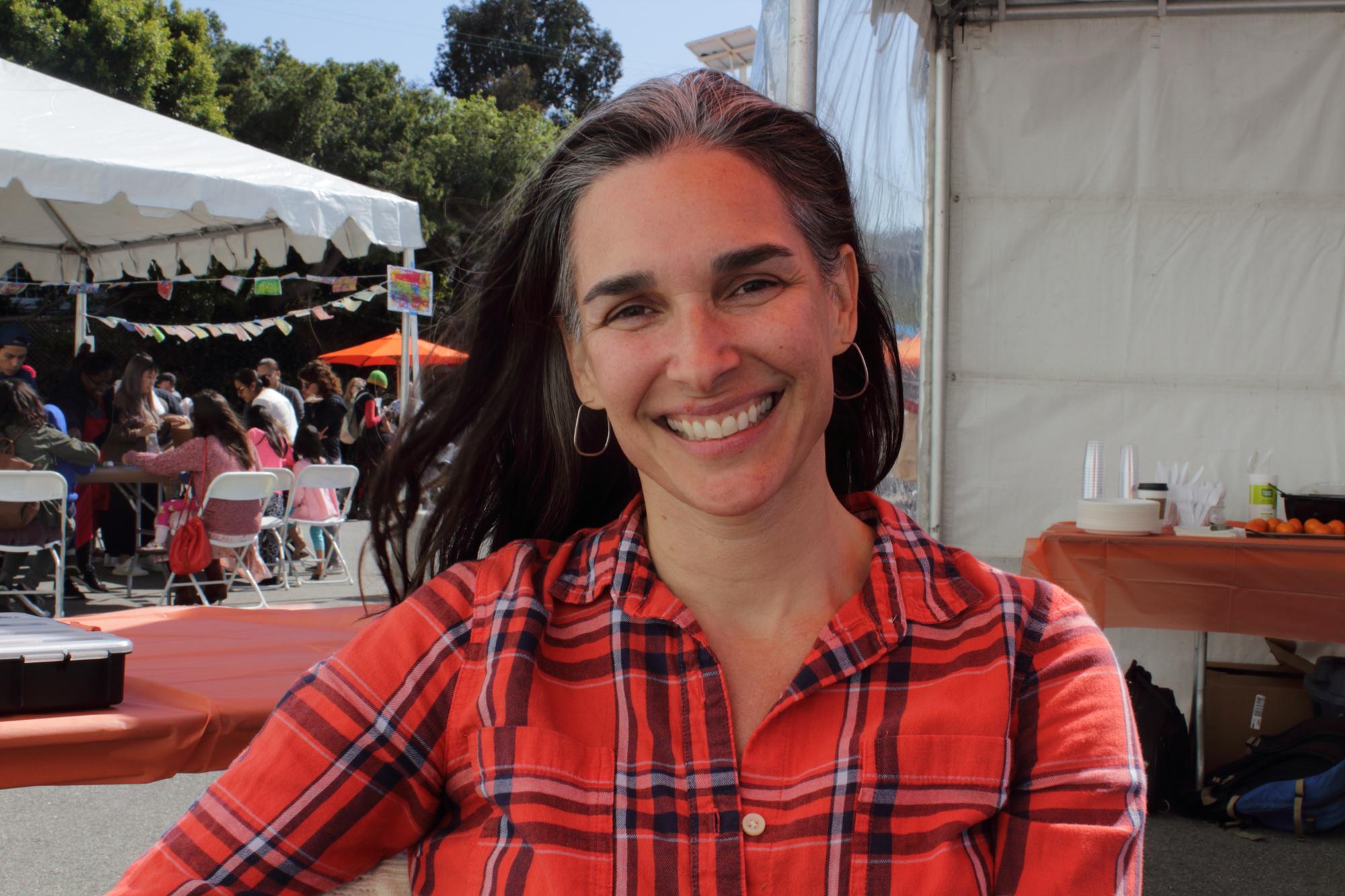 Allison Ostrovsky, City of Santa Monica Cultural Affairs Supervisor and event coordinator for the Santa Monica ArtWalk, near the information booth at the main entrance of the 12 Annual Santa Monica ArtWalk on March 24th, 2018 in Santa Monica, California. (Heather Creamer/ Corsair Photo).