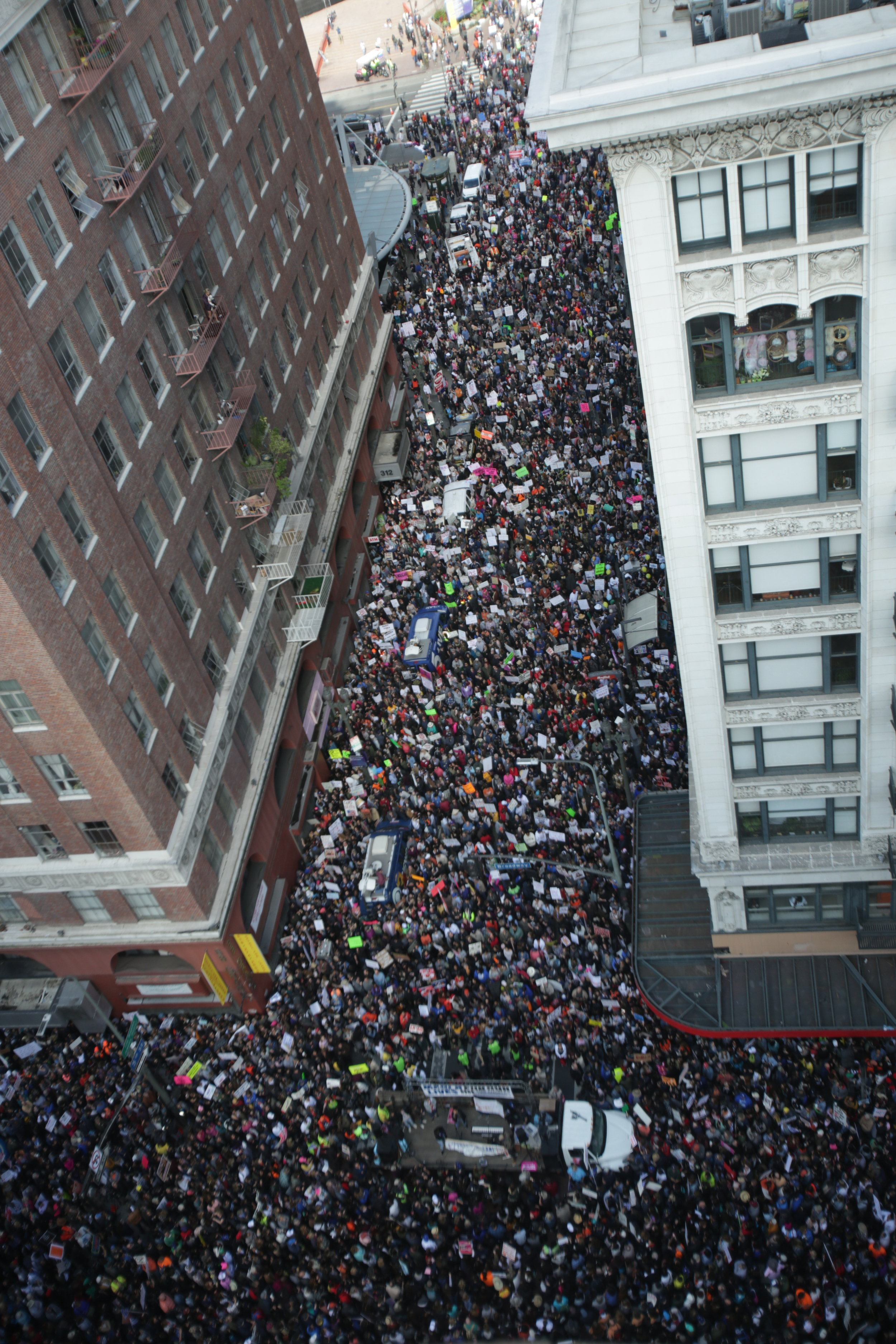 Aerial view of the tens of thousands that turned out for the March for Life in Downtown Los Angeles, California. On Saturday, March 24, 2018. (William Wendelman/Corsair Photo)
