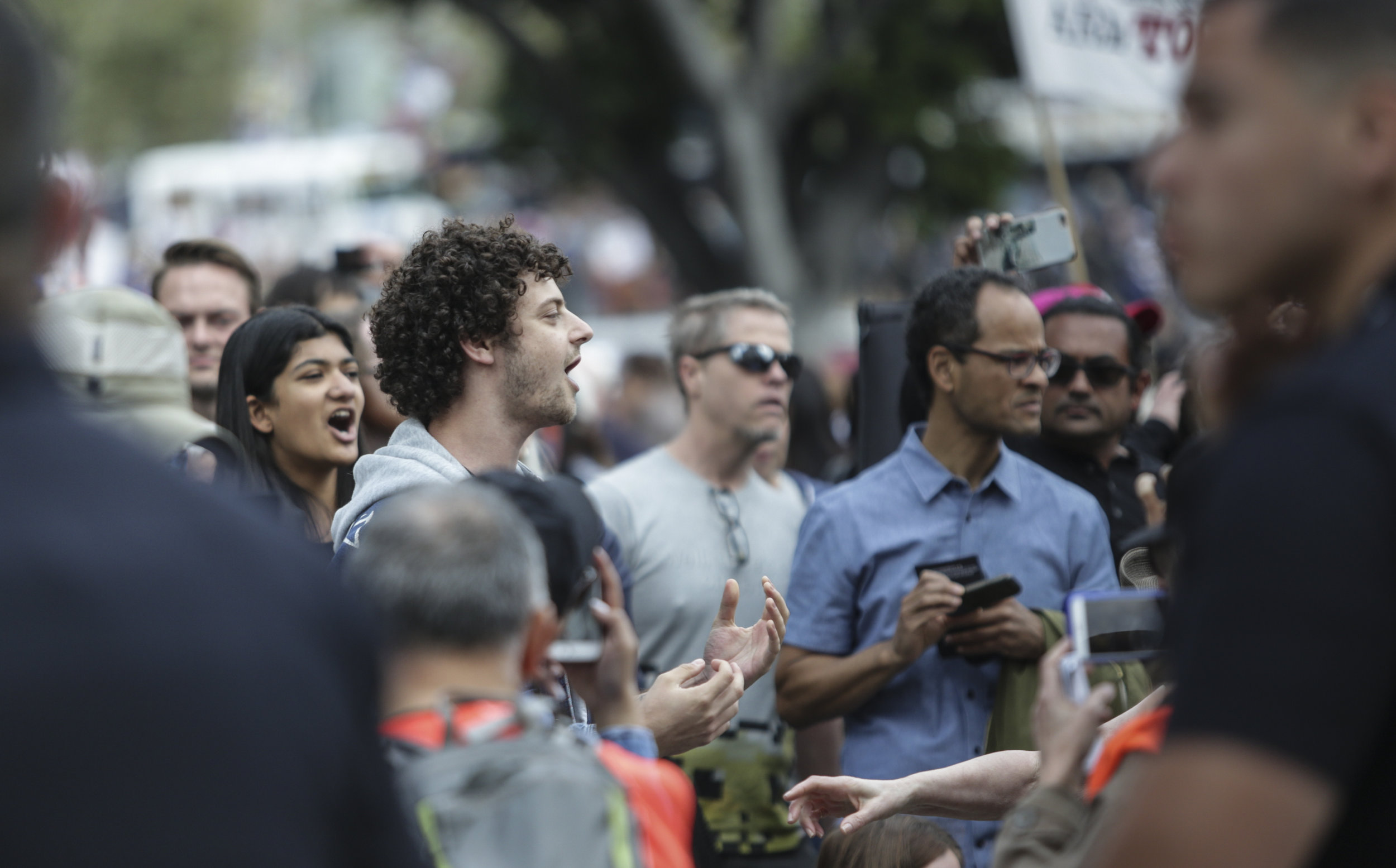 Protesters and counter-protesters clash across police lines at the March for Life. The march took place between Pershing Square and City Hall in Downtown Los Angeles, California. Tensions were high while debating gun control and solutions to gun violence. The march took place Saturday, March 24, 2018. (William Wendelman/Corsair Photo)
