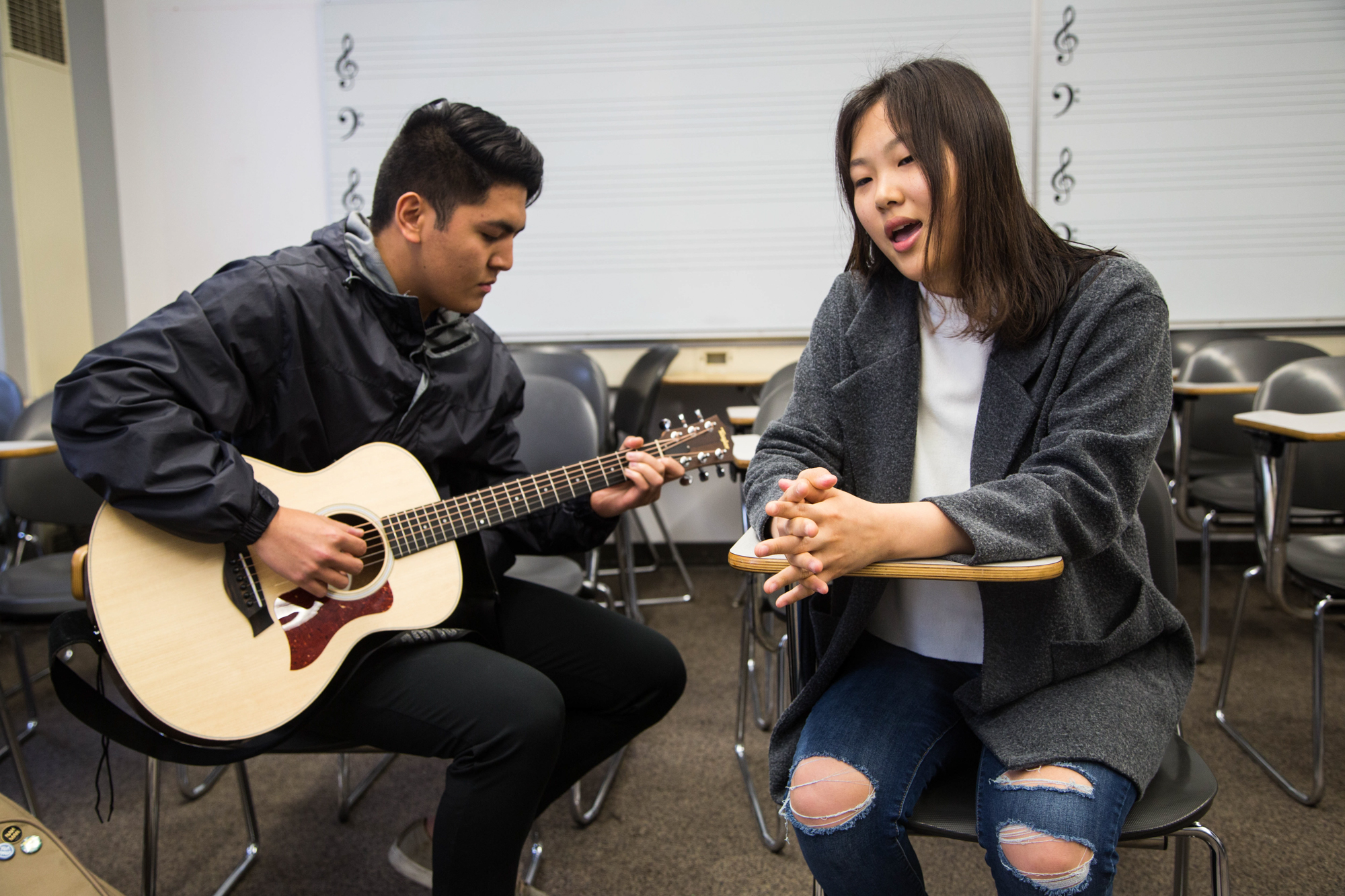 Club members Jai won Chio and Luis Emmanuel Panotes performing during club meeting, Thursday, March 22, 2018, at Santa Monica College's Performance Arts Center in Santa Monica, California (Zeynep Abes/ Corsair Photo)